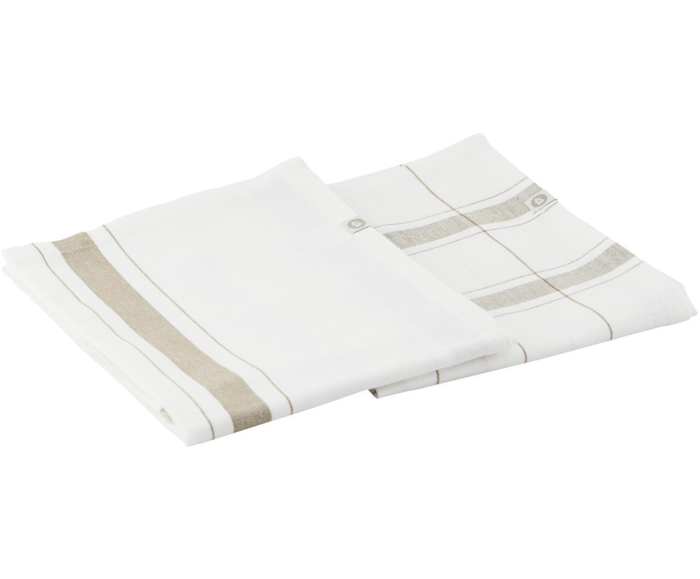 Geschirrtücher Halida mit Streifen und Karomuster, 2 Stück, 100% Baumwolle, Weiß, Olivgrün, 55 x 75 cm