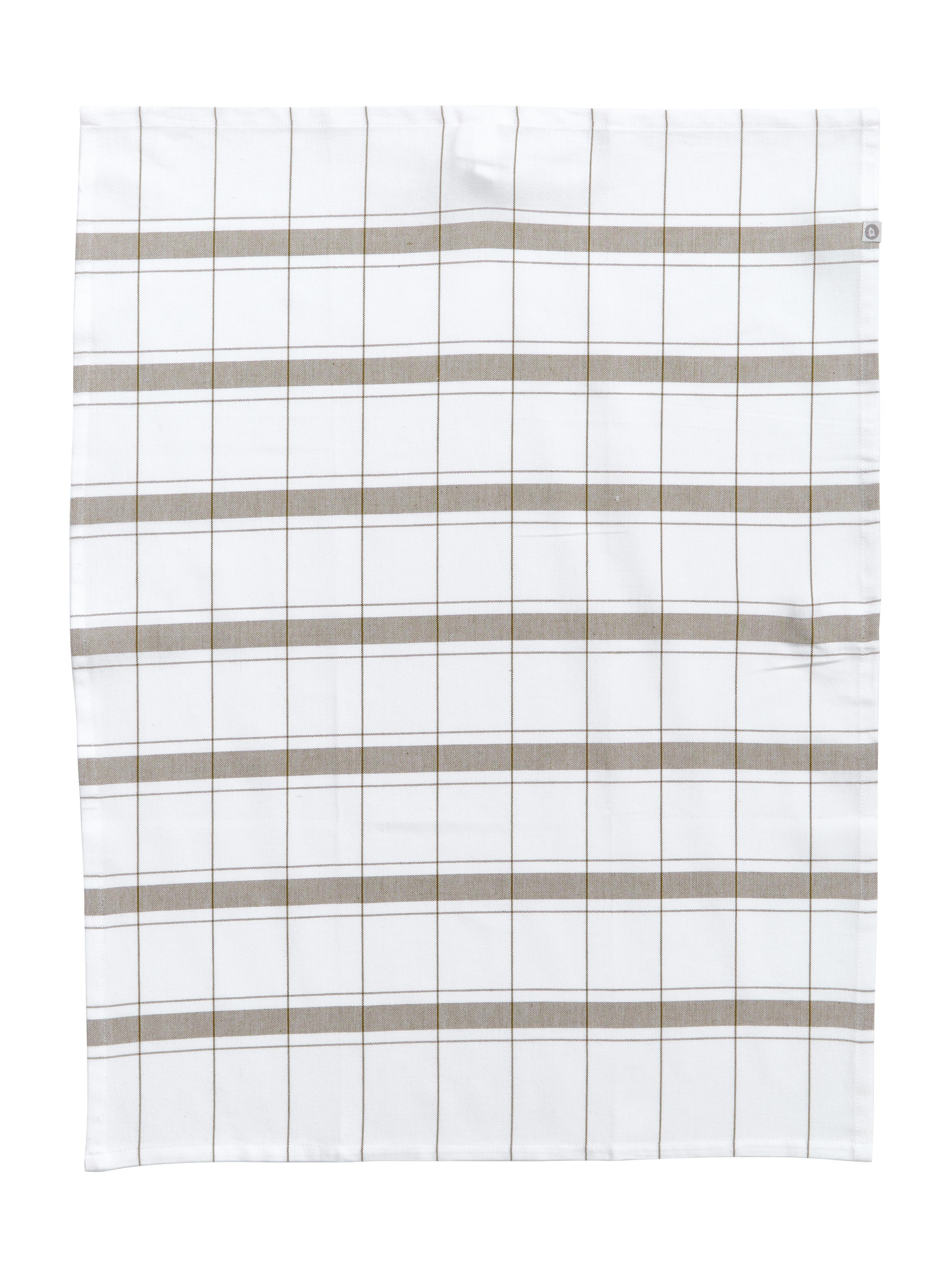 Theedoeken Halida met strepen en ruitpatroon, 2 stuks, Katoen, Wit, olijfgroen, 55 x 75 cm