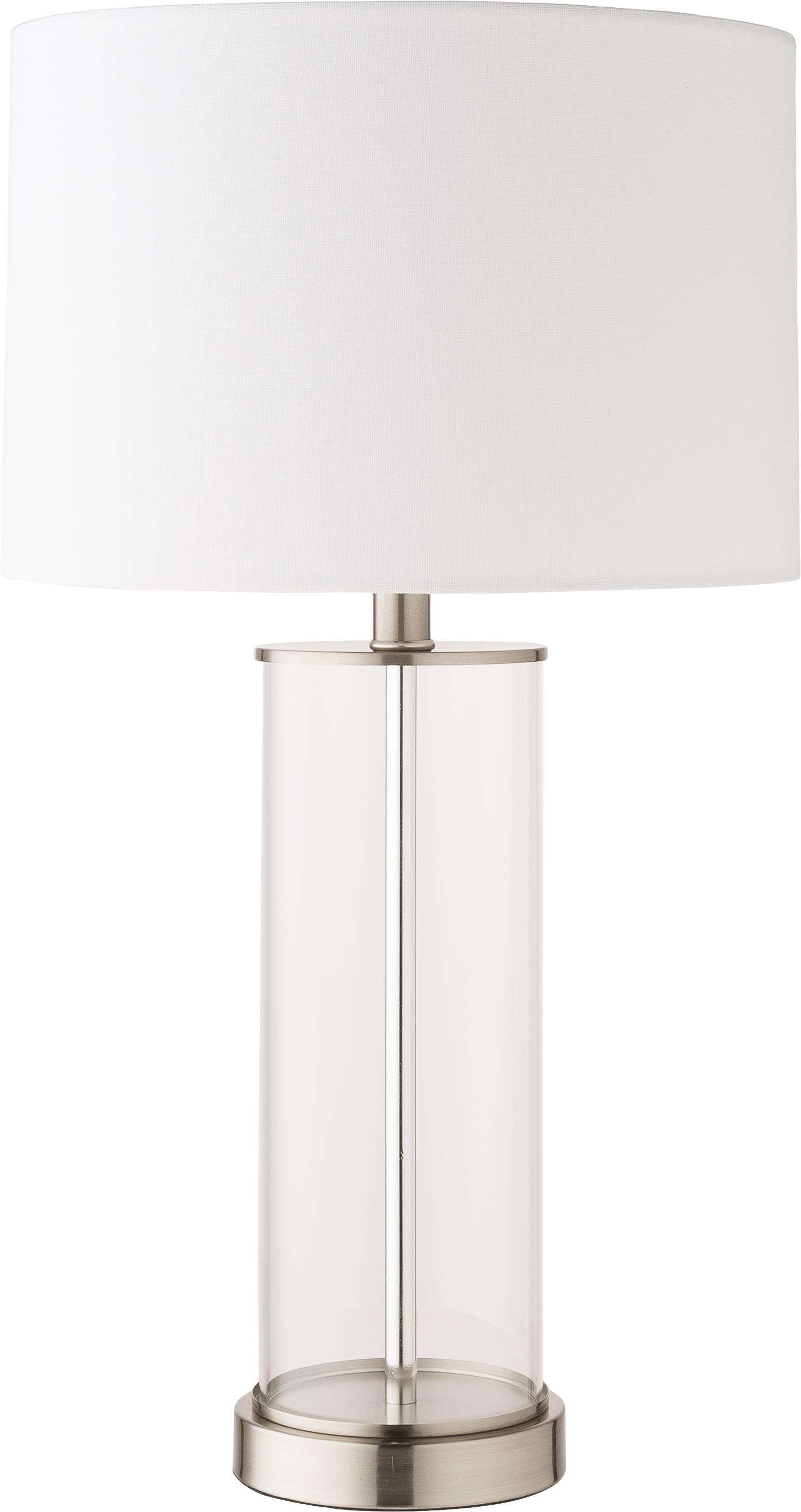 Lampada da tavolo Abigail, Base della lampada: vetro, Paralume: lino, Nichel, Ø 32 x Alt. 61 cm