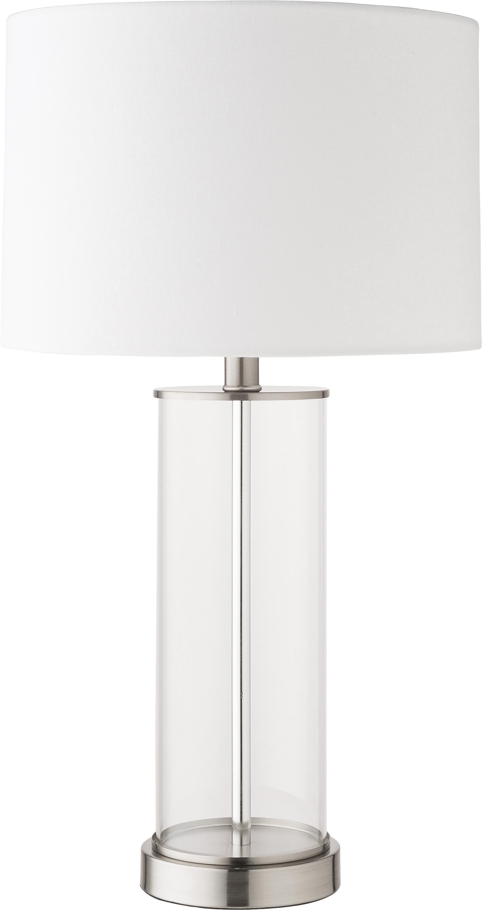 Grosse Tischlampe Abigail aus Glas und Leinen, Lampenschirm: Leinen, Sockel: Metall, vernickelt, Nickel, Ø 32 x H 61 cm