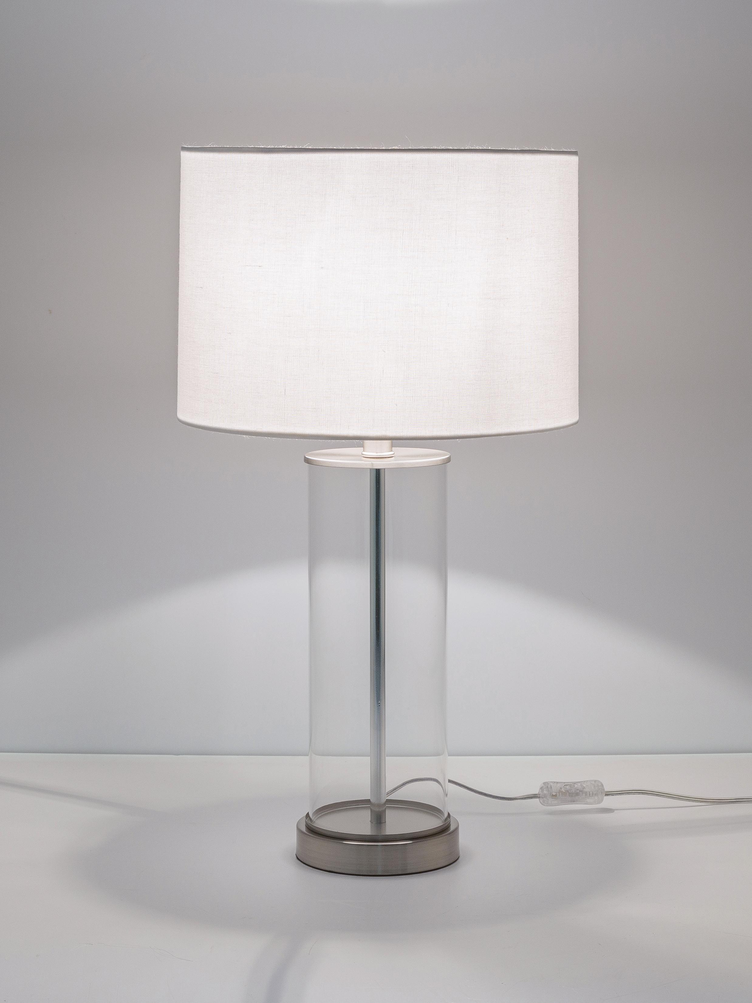 Grote tafellamp Abigail van glas en linnen, Lampenkap: linnen, Lampvoet: glas, Voetstuk: vernikkeld metaal, Nikkelkleurig, Ø 32 x H 61 cm