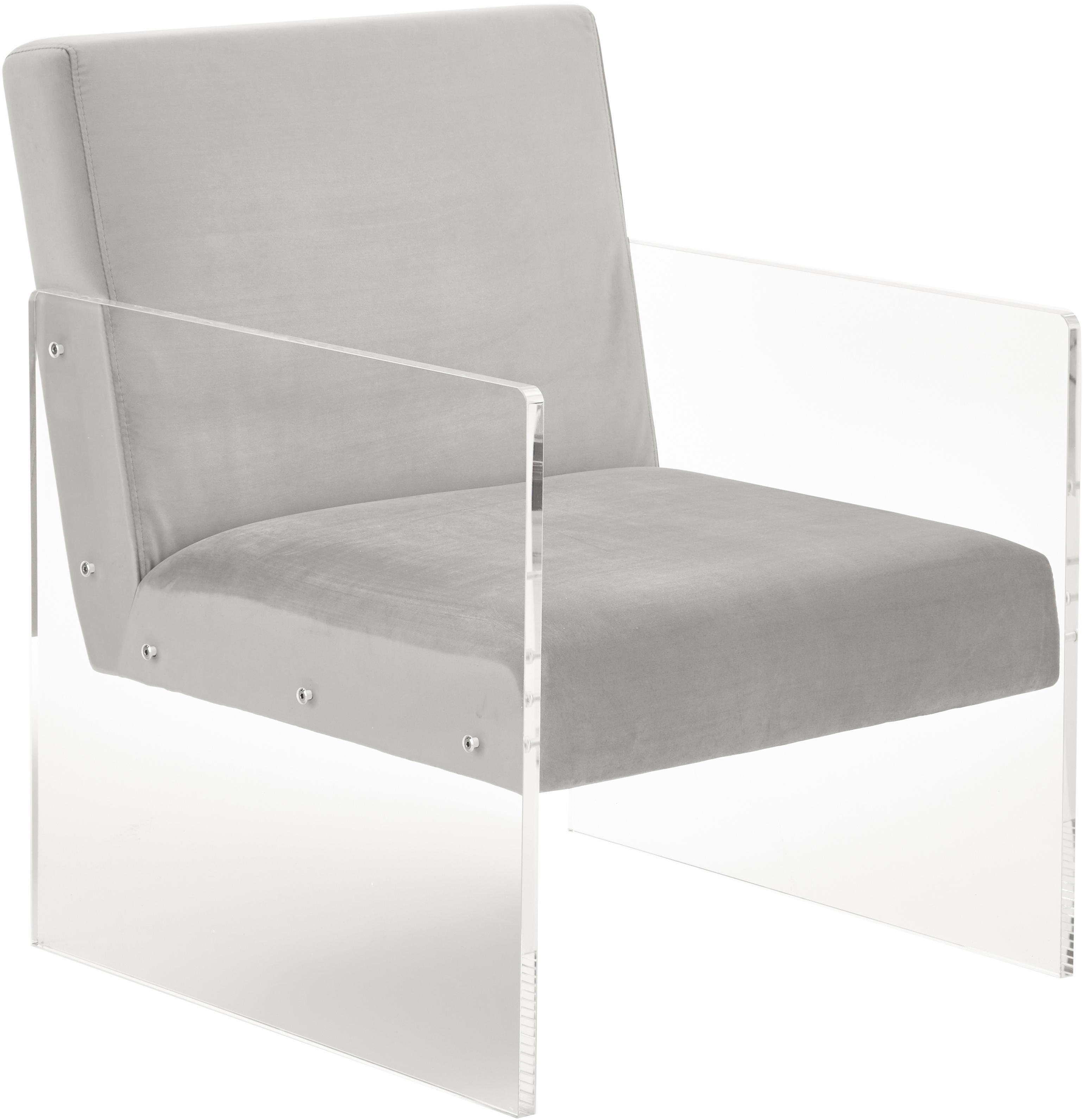 Sillón de terciopelo Ayden, Tapizado: terciopelo (poliéster) Re, Patas: vidrio acrílico, Terciopelo gris claro, An 69 x F 74 cm