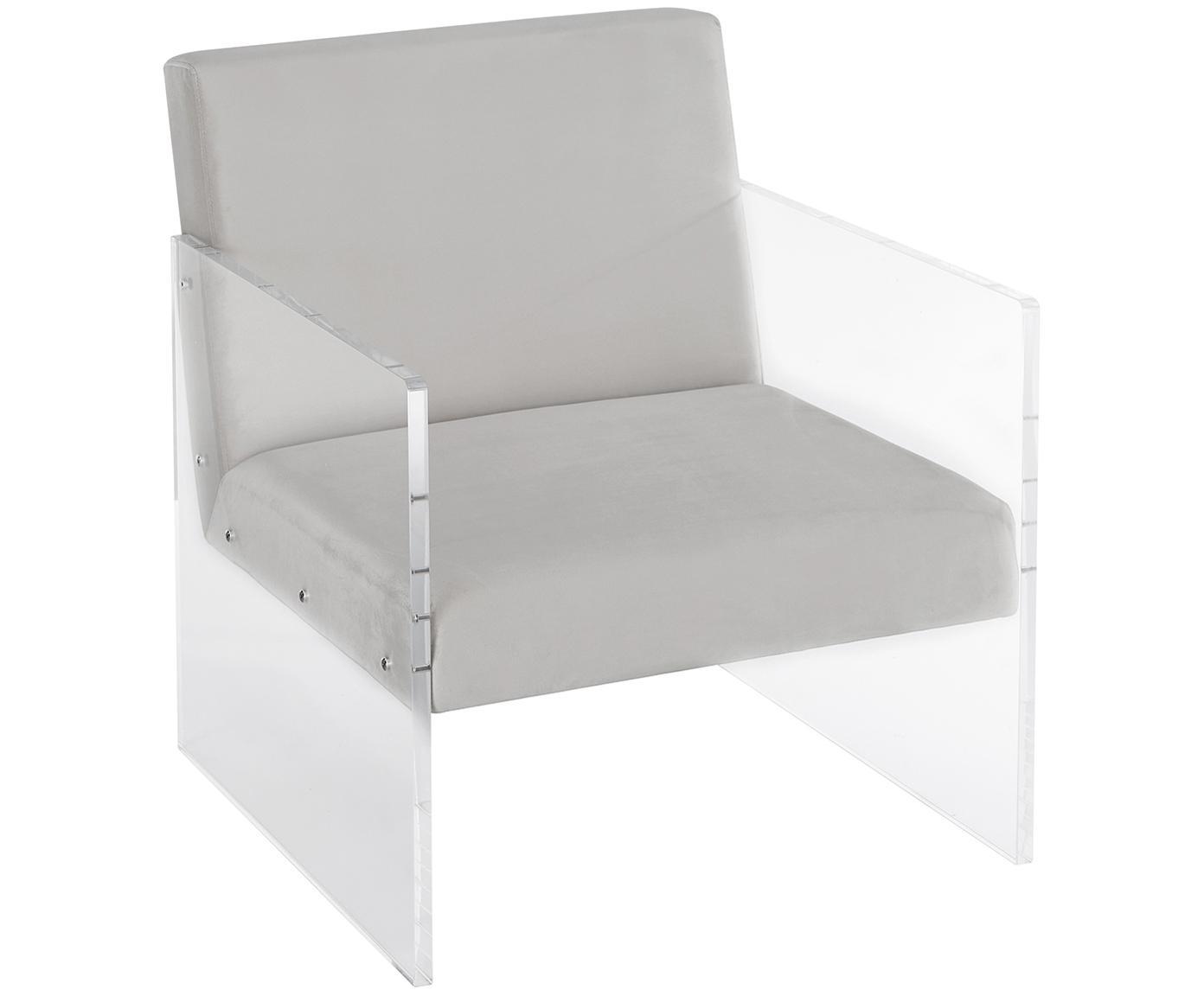 Fluwelen lounge fauteuil Ayden, Bekleding: fluweel (polyester), Frame: massief populierenhout, m, Poten: acrylglas, Fluweel lichtgrijs, B 64  x D 74 cm