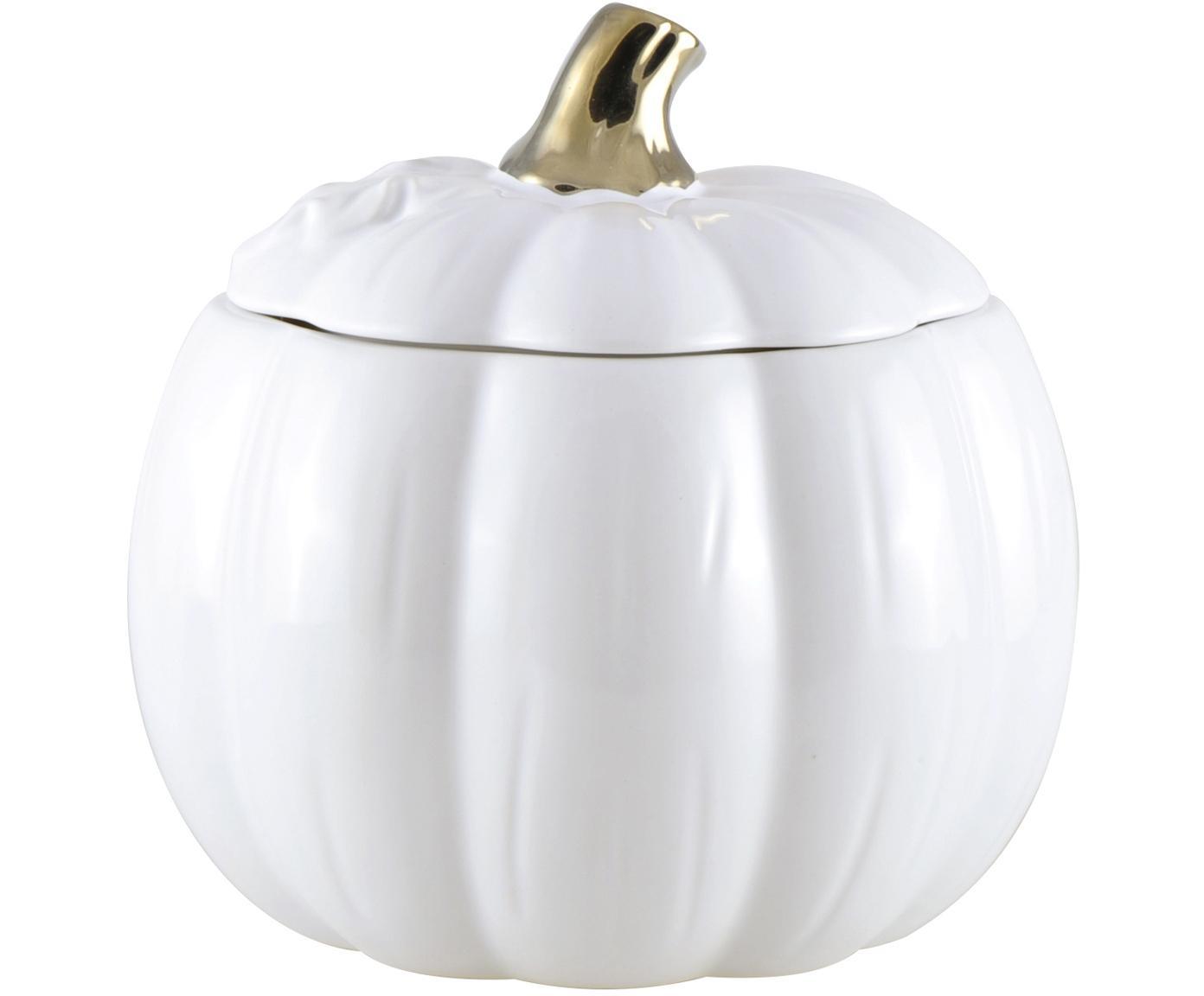 Pojemnik do przechowywania Pumpkin, Ceramika, Biały, odcienie złotego, Ø 12 x W 14 cm