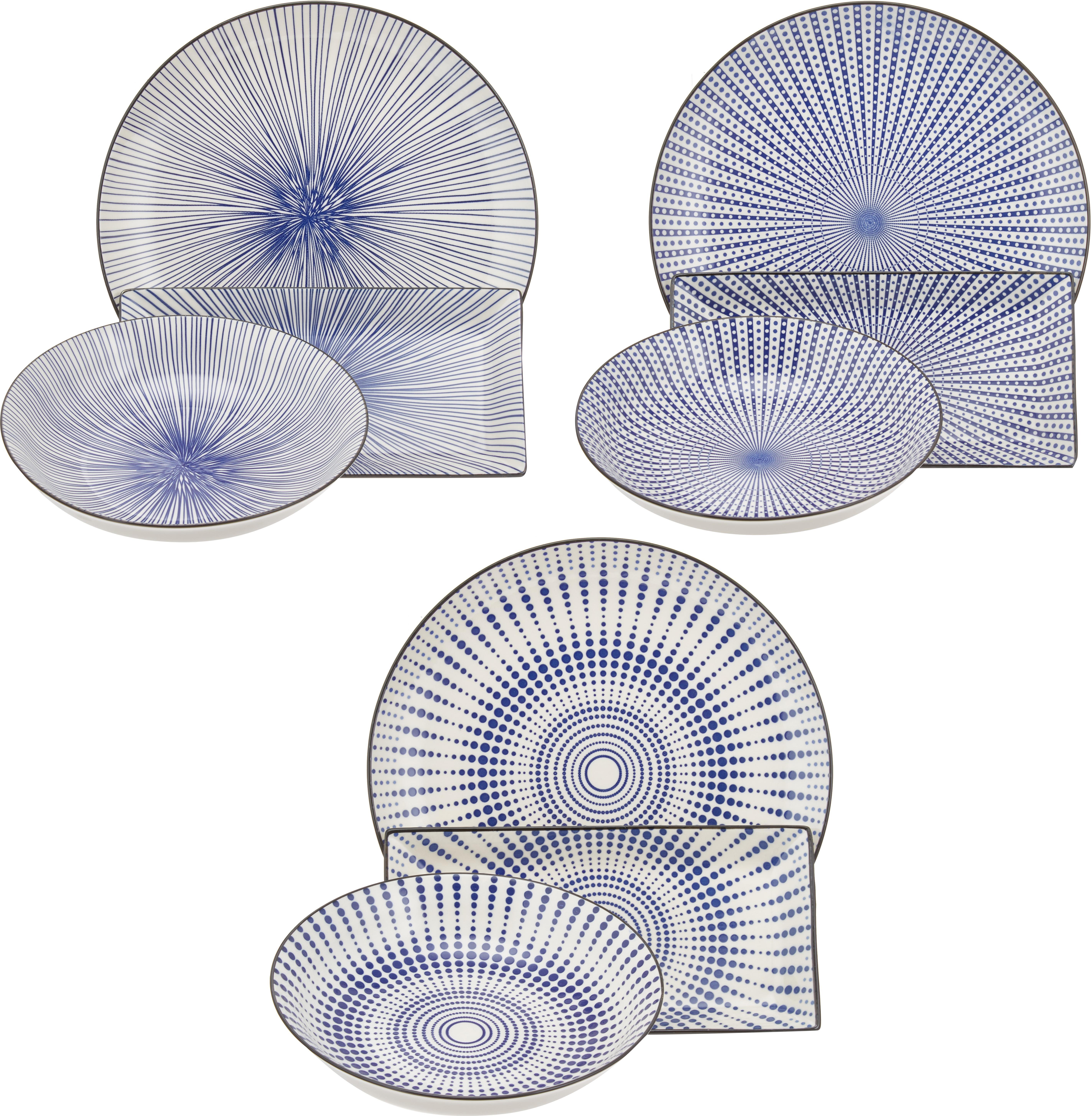 Vajilla Skiathos, 6comensales (18pzas.), Gres, Azul, blanco crudo, Tamaños diferentes