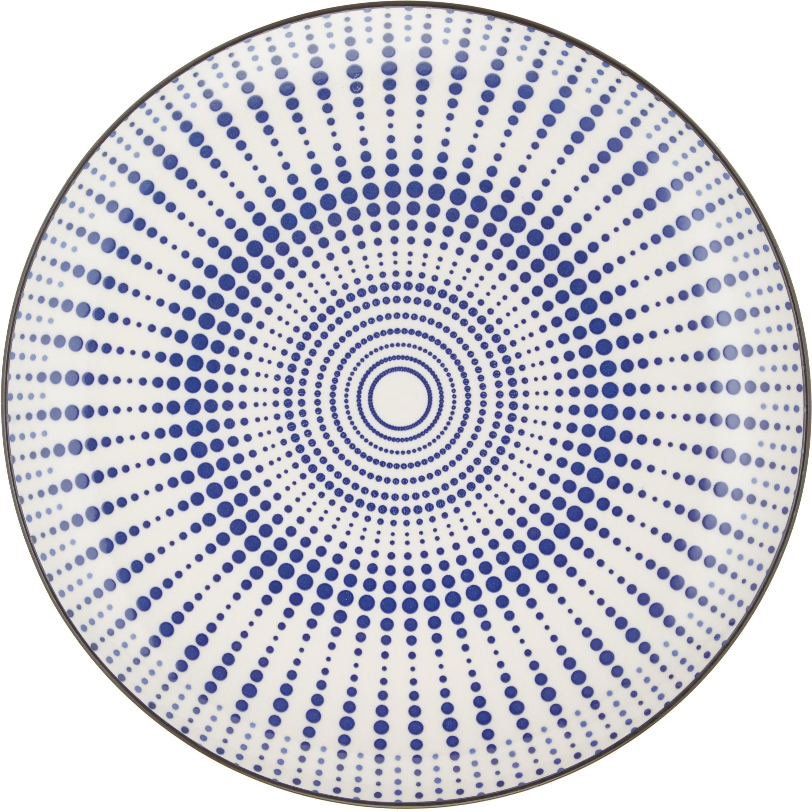 Komplet naczyń  Skiathos, 18 elem., Kamionka, Odcienie niebieskiego, złamana biel Krawędzie: antracytowy, Różne rozmiary