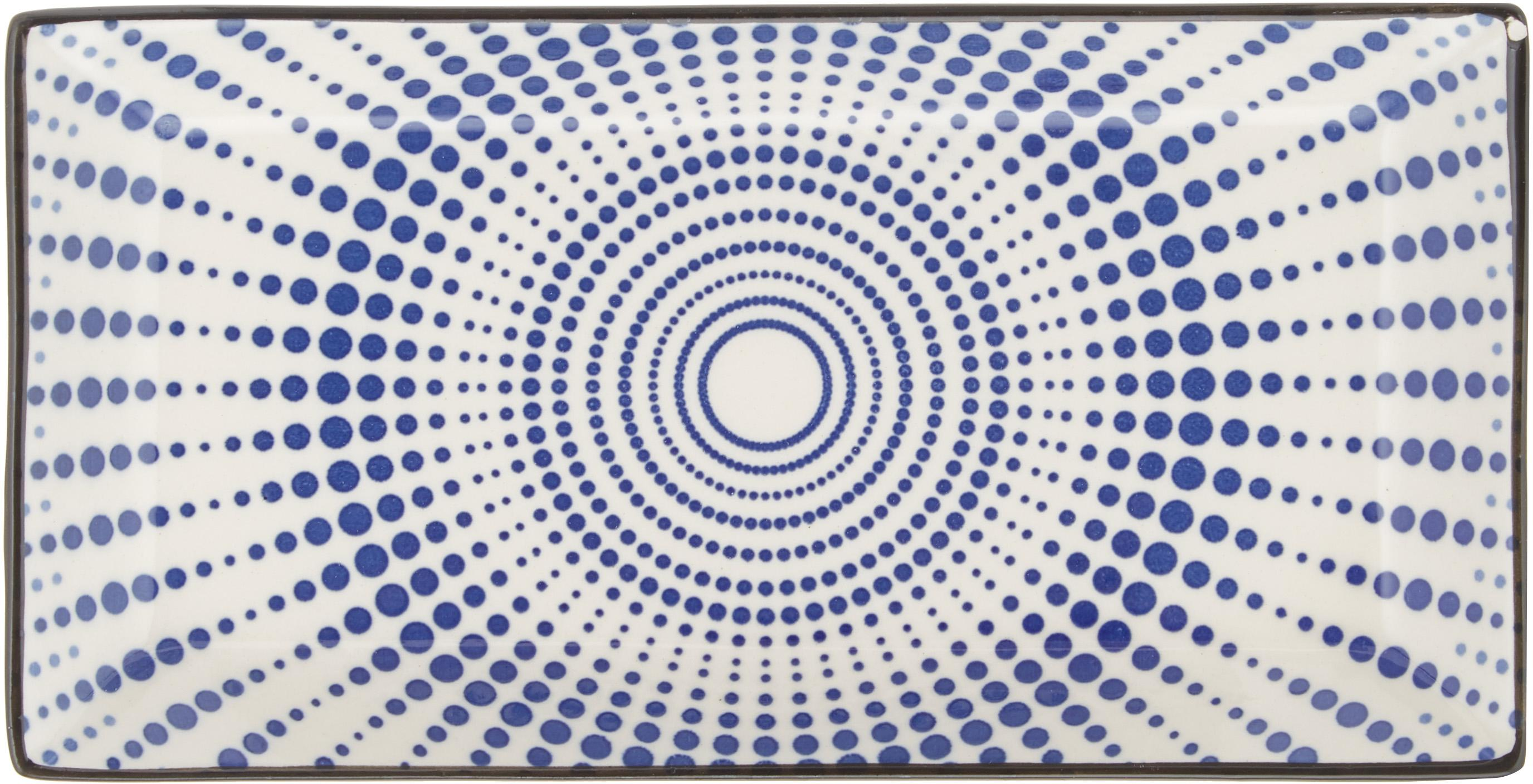 Servizio piatti con motivo blu Skiathos, set di 18, Terracotta, Tonalità blu, bianco latteo Bordi: antracite, Diverse dimensioni