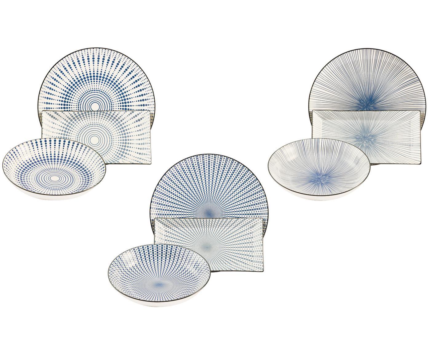Servizio piatti Skiathos, set di 18, Terracotta, Tonalità blu, bianco latteo Bordi: antracite, Diverse dimensioni