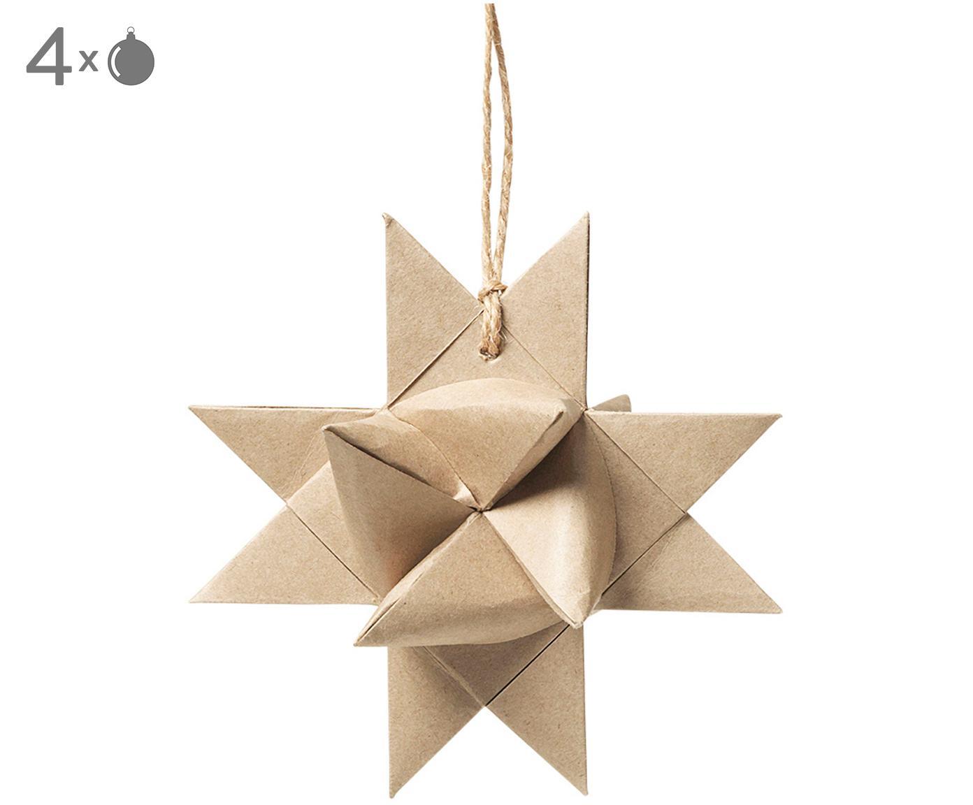 Ozdoba choinkowa Star Origami, 4szt., Papier, Beżowy, S 11 x G 11 cm