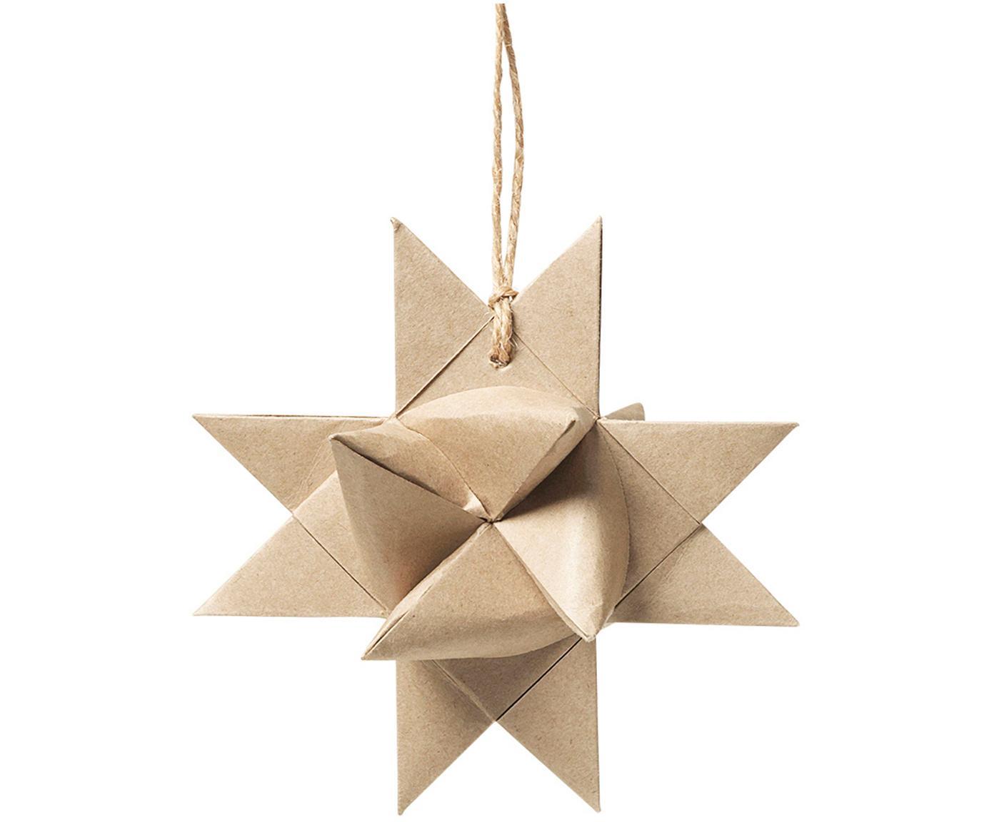Baumanhänger Star Origami, 4 Stück, Papier, Beige, B 11 x T 11 cm