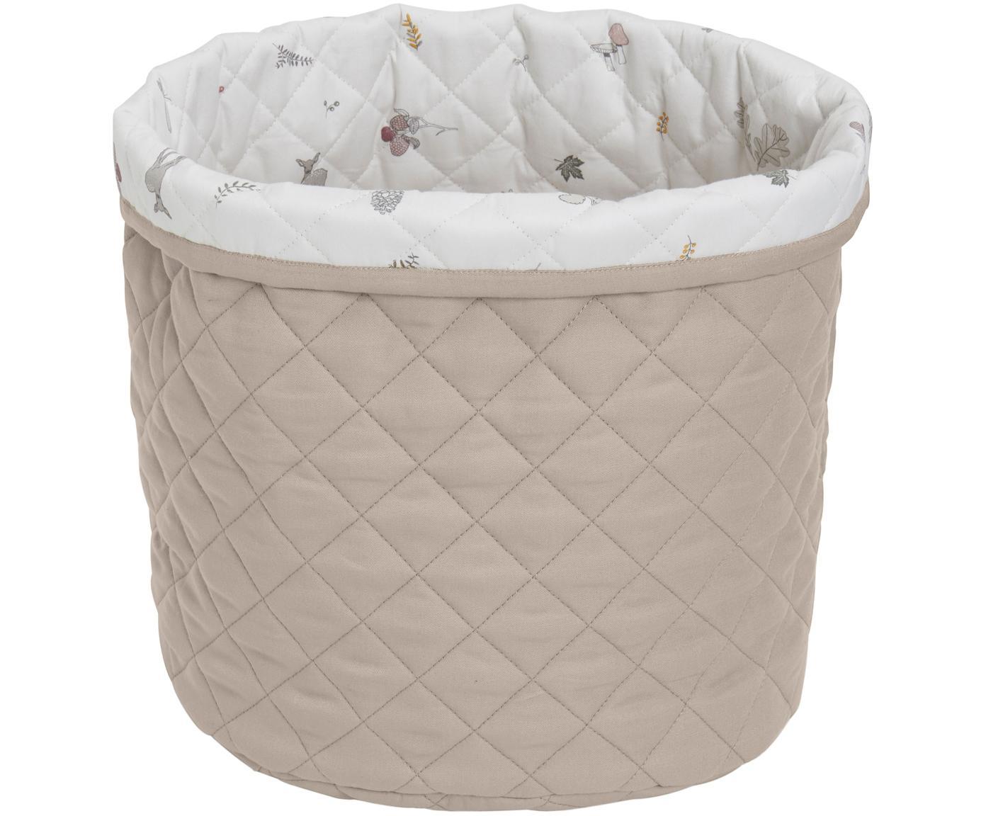Kosz do przechowywania  z bawełny organicznej Fawn, Tapicerka: bawełna organiczna, Biały, brązowy, beżowy, Ø 30 x W 33 cm