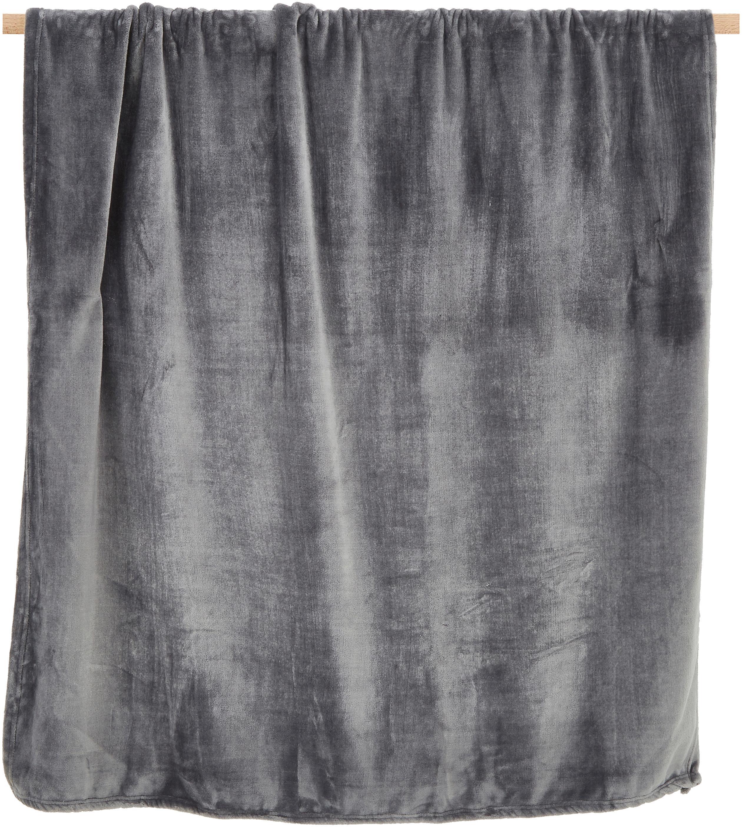 Miękki pled z polaru Doudou, 100% poliester, Antracytowy, S 130 x D 160 cm