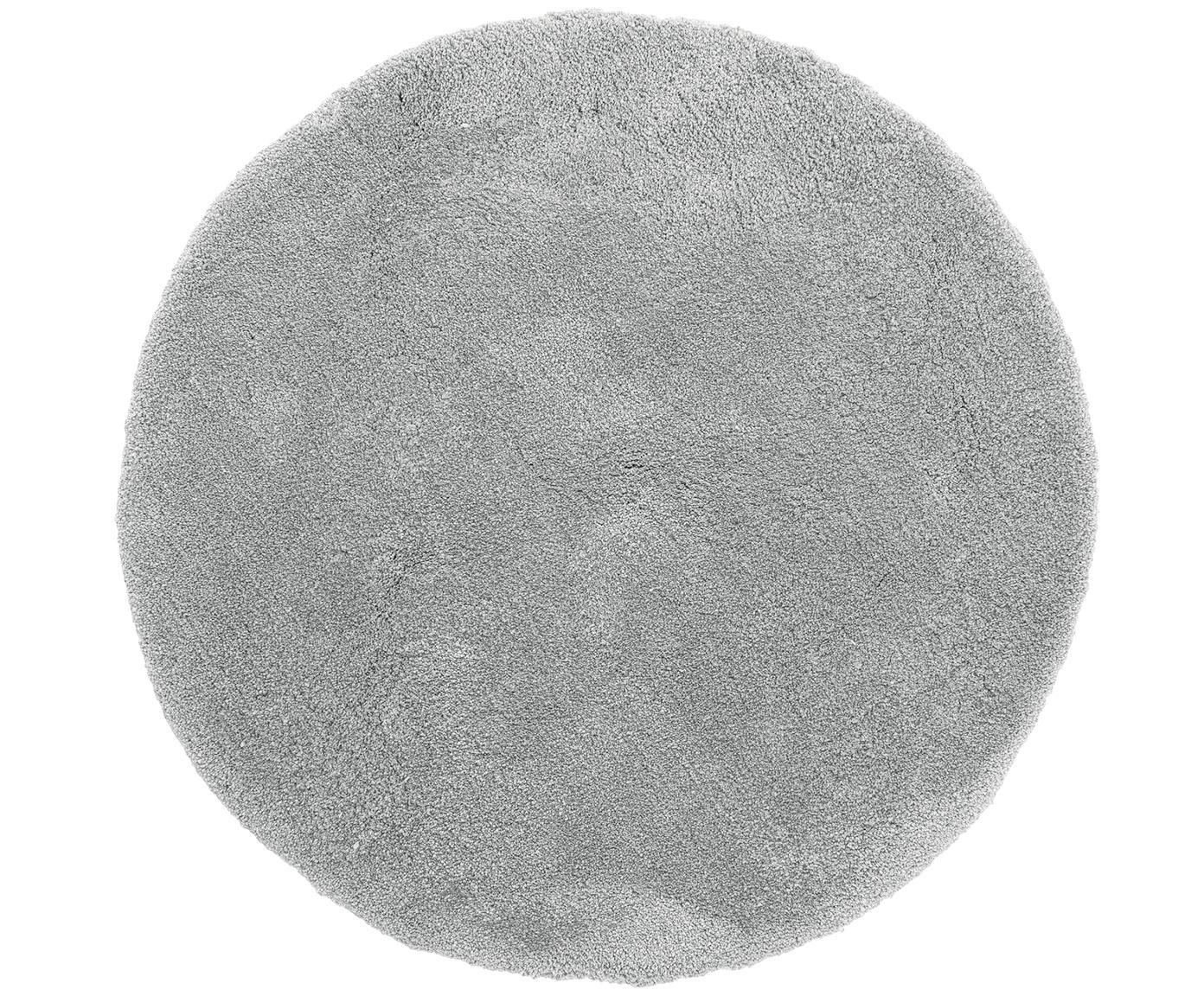 Flauschiger runder Hochflor-Teppich Leighton in Grau, Flor: 100% Polyester (Mikrofase, Grau, Ø 120 cm (Grösse S)