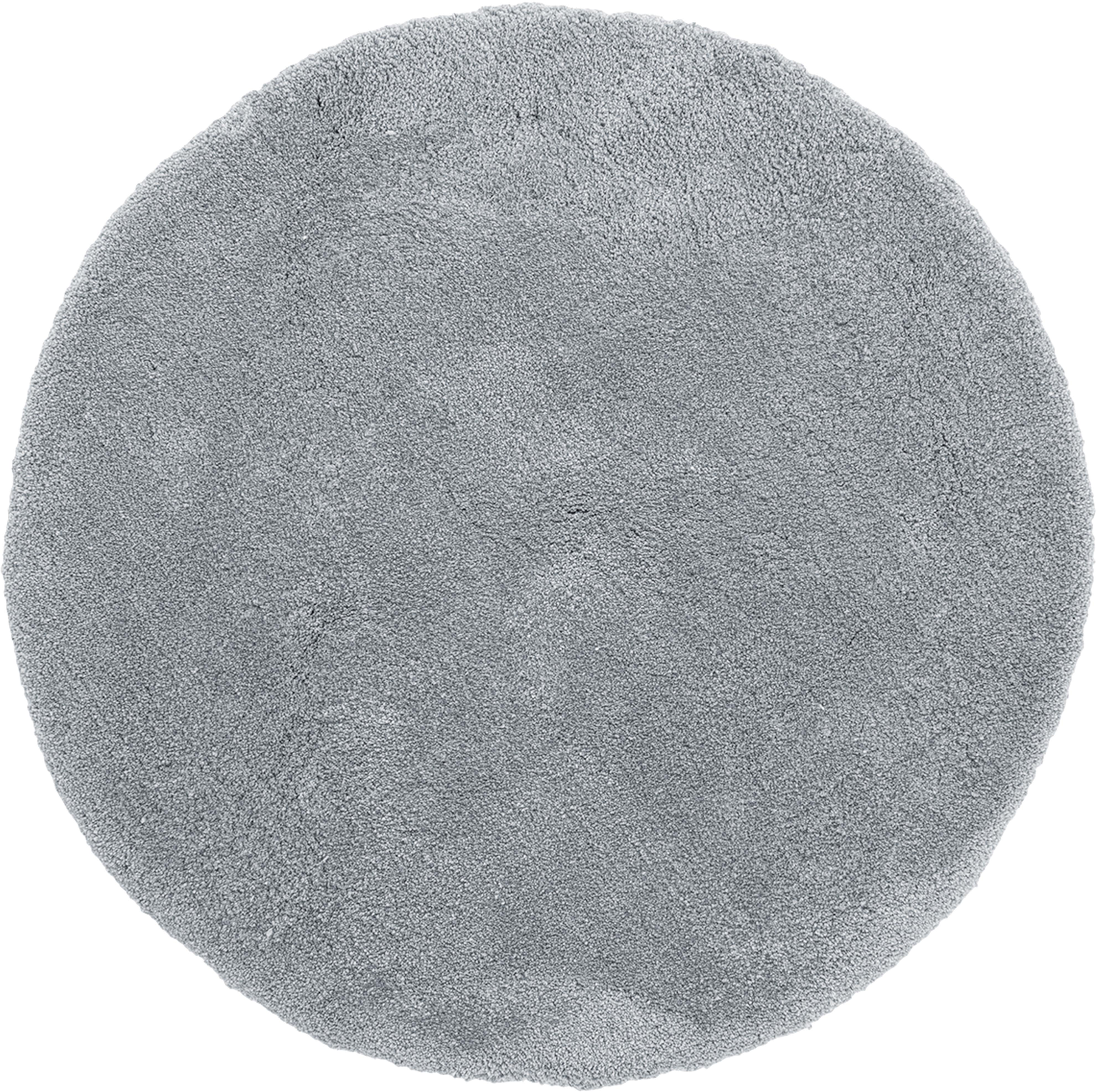 Alfombra redonda de pelo largo Leighton, Parte superior: 100%poliéster (microfibr, Reverso: 100%poliéster, Gris oscuro, Ø 120 cm (Tamaño S)