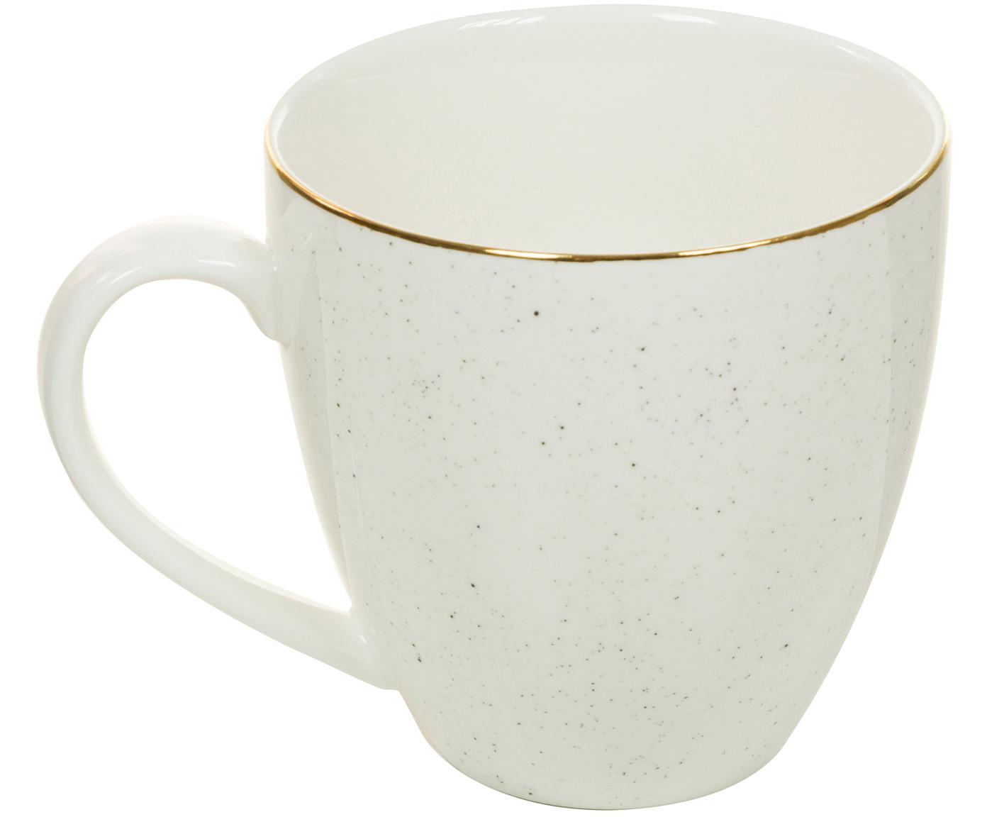 Handgemachte Kaffeetassen Bol mit Goldrand, 2 Stück, Porzellan, Cremeweiß, Ø 9 x H 9 cm