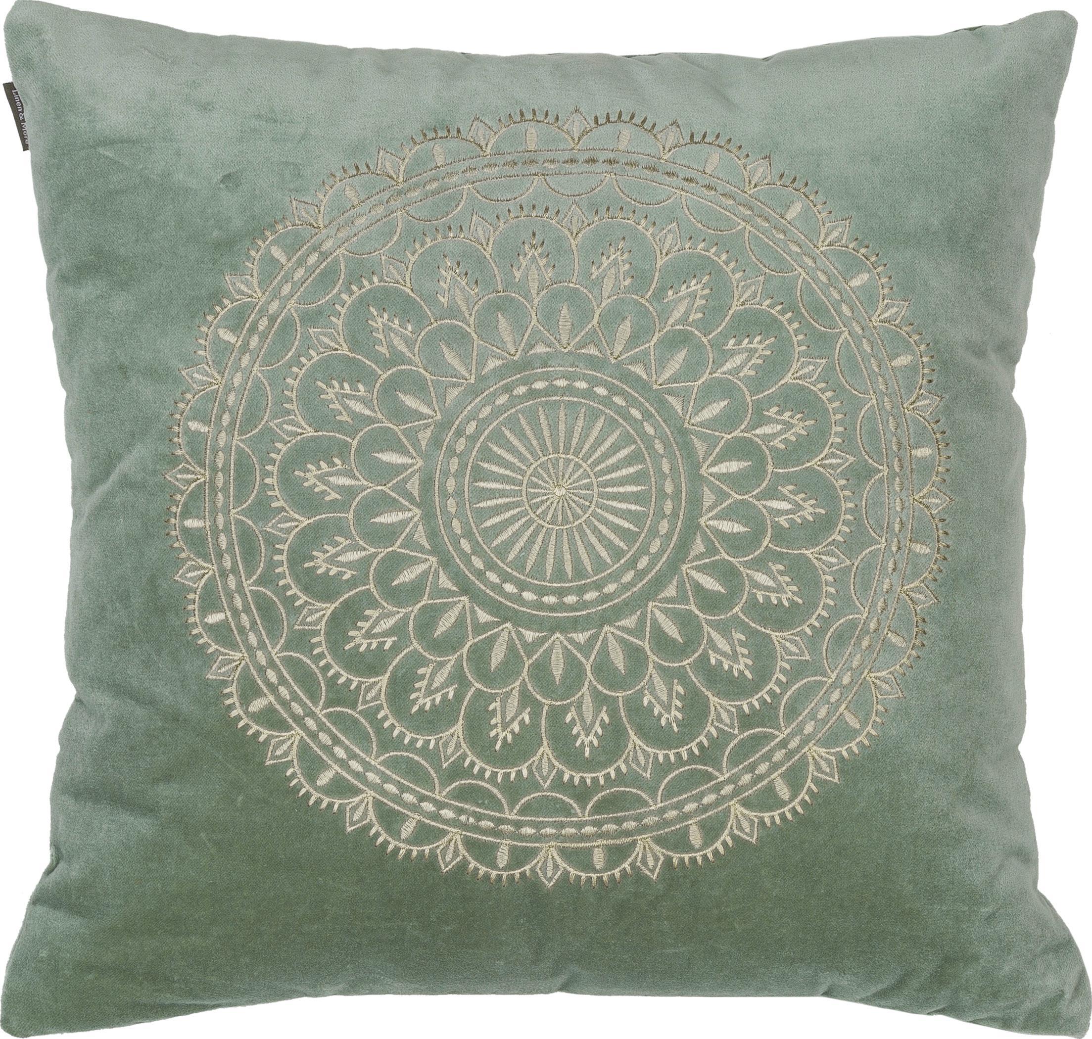 Cojín de terciopelo bordado Preston, con relleno, Funda: terciopelo 100%algodón, Verde menta, crema, An 45 x L 45 cm
