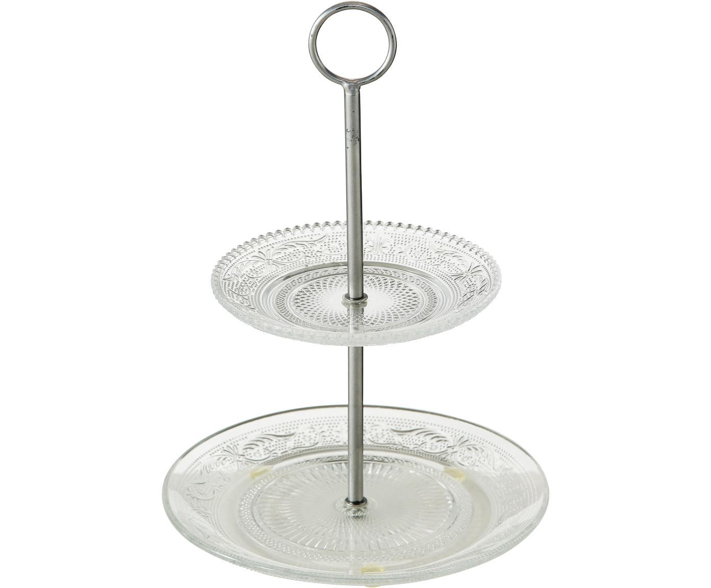 Fuente 2 pisos Relief, Estante: vidrio, Transparente, Ø 20 x Al 28 cm