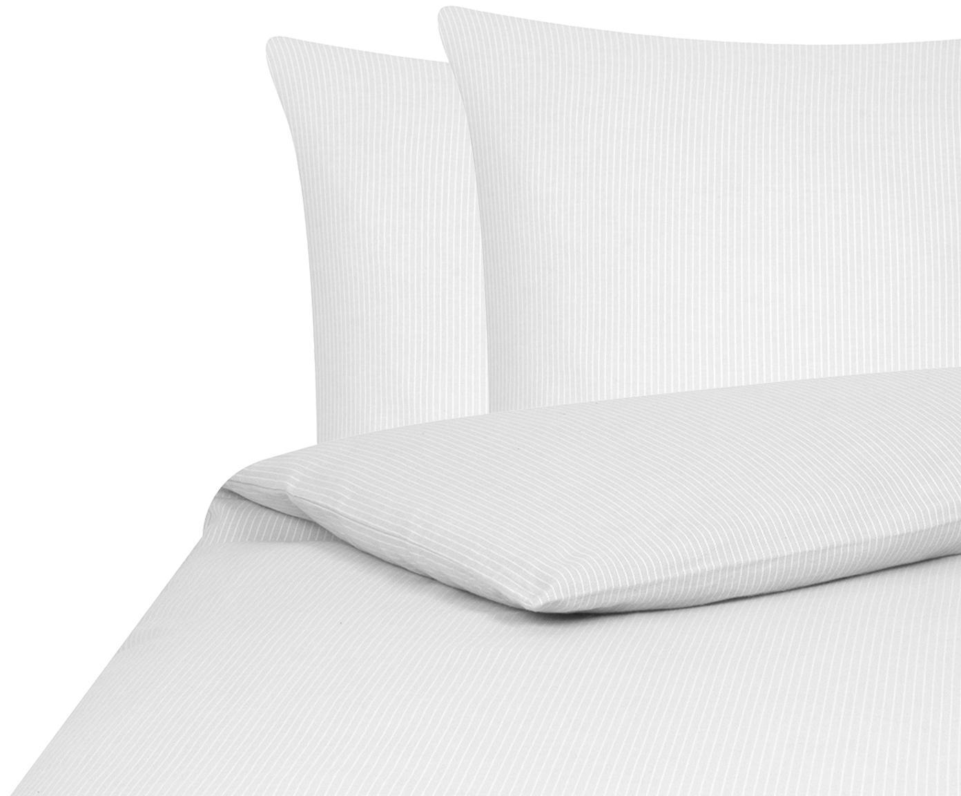 Flanell-Bettwäsche Rae, fein gestreift, Webart: Flanell Flanell ist ein s, Grau, Weiß, 200 x 200 cm