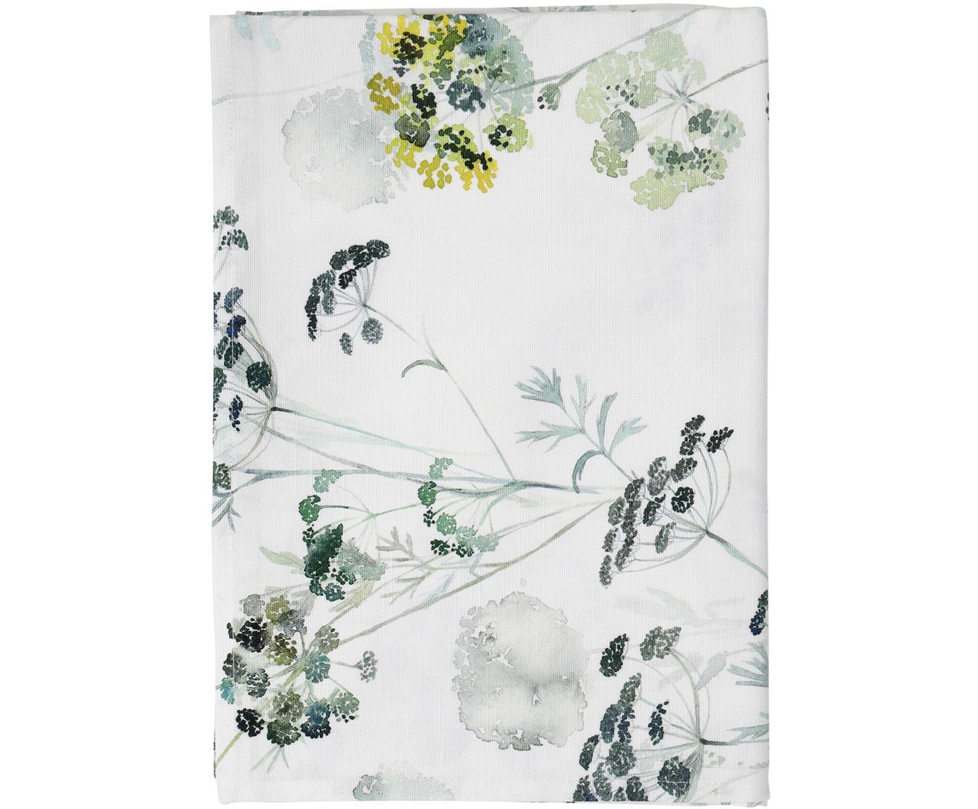Tischdecke Herbier, Baumwolle, Weiss, Grün, 160 x 160 cm