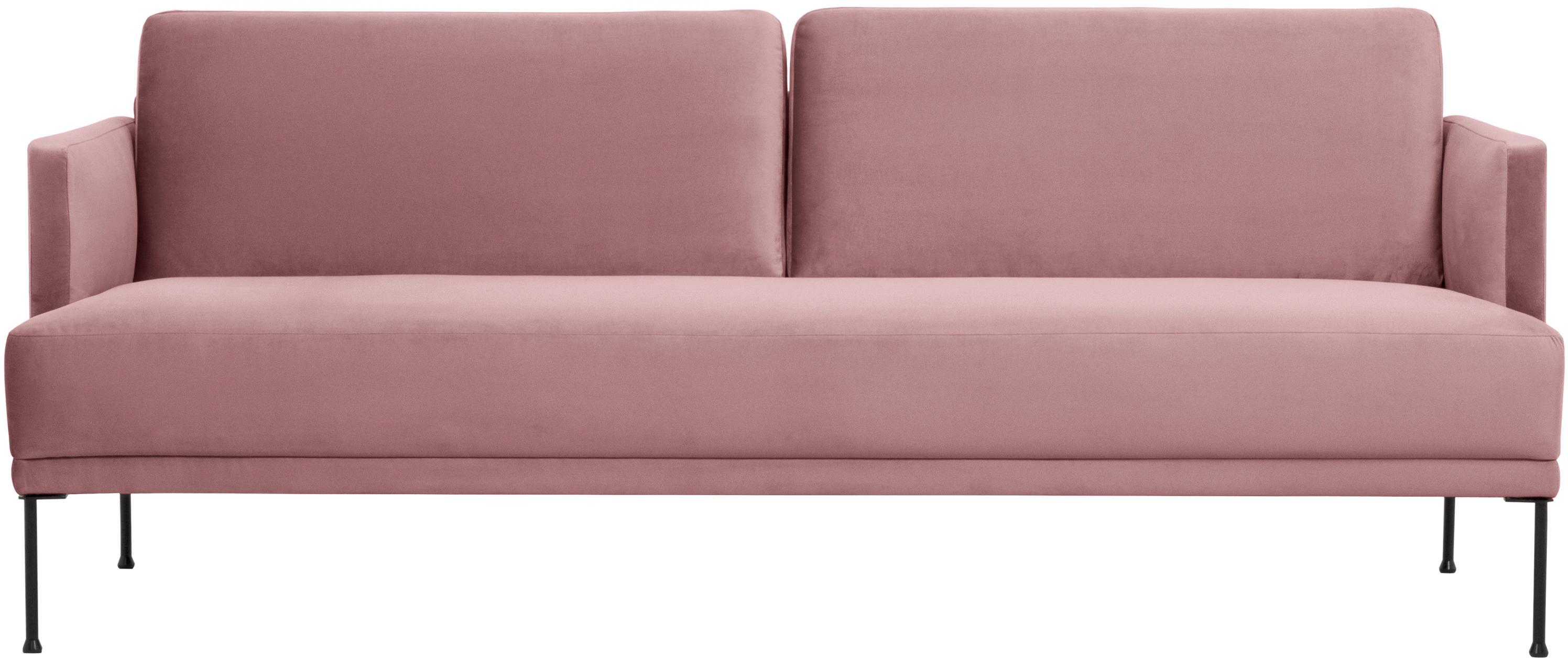Fluwelen bank Fluente (3-zits), Bekleding: fluweel (hoogwaardig poly, Frame: massief grenenhout, Poten: gepoedercoat metaal, Roze, B 196 x D 85 cm