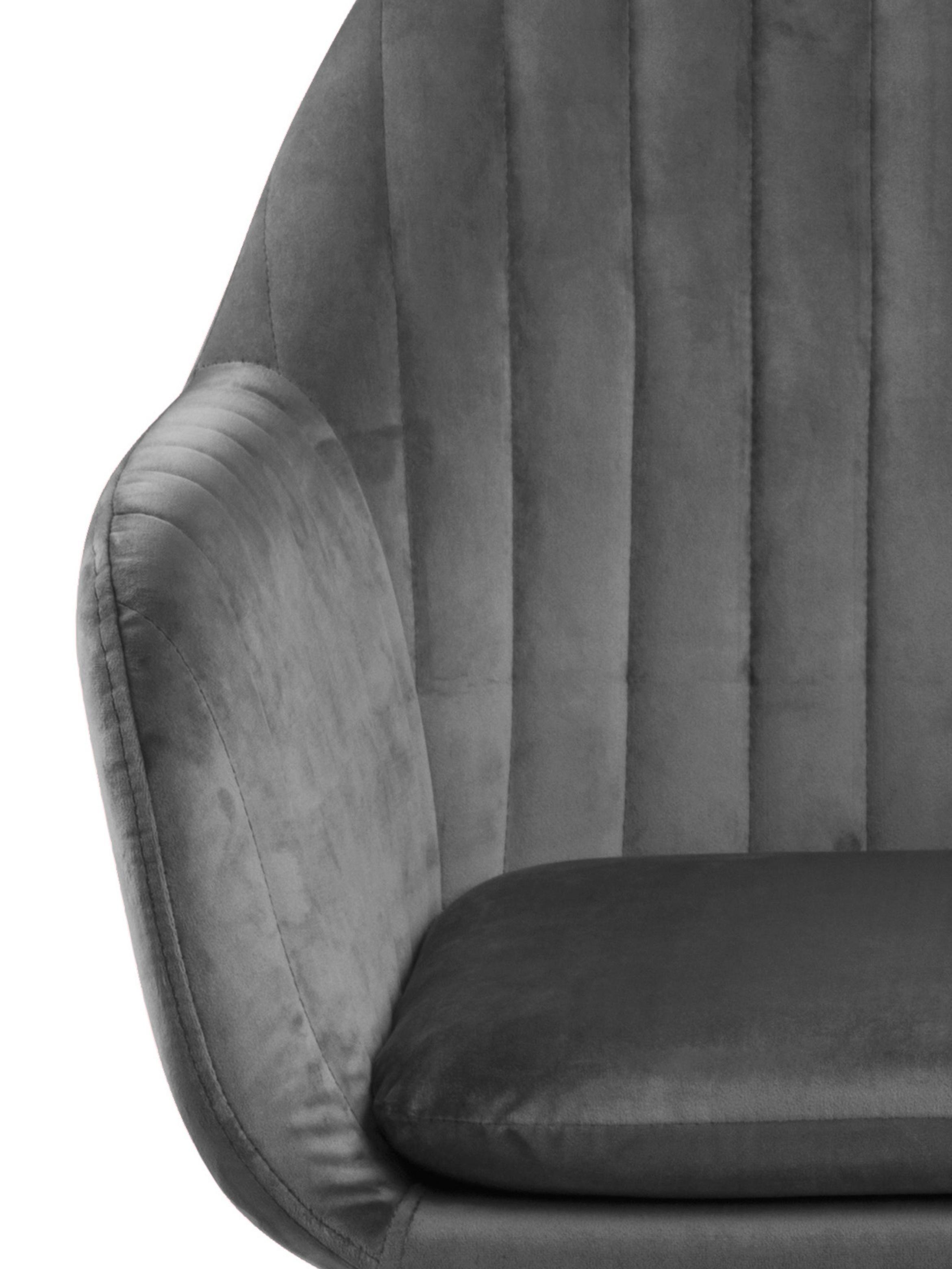 Samt-Polsterstuhl Emilia mit Armlehne, Bezug: Polyestersamt Der hochwer, Beine: Metall, lackiert, Samt Dunkelgrau, Beine Schwarz, B 57 x T 59 cm