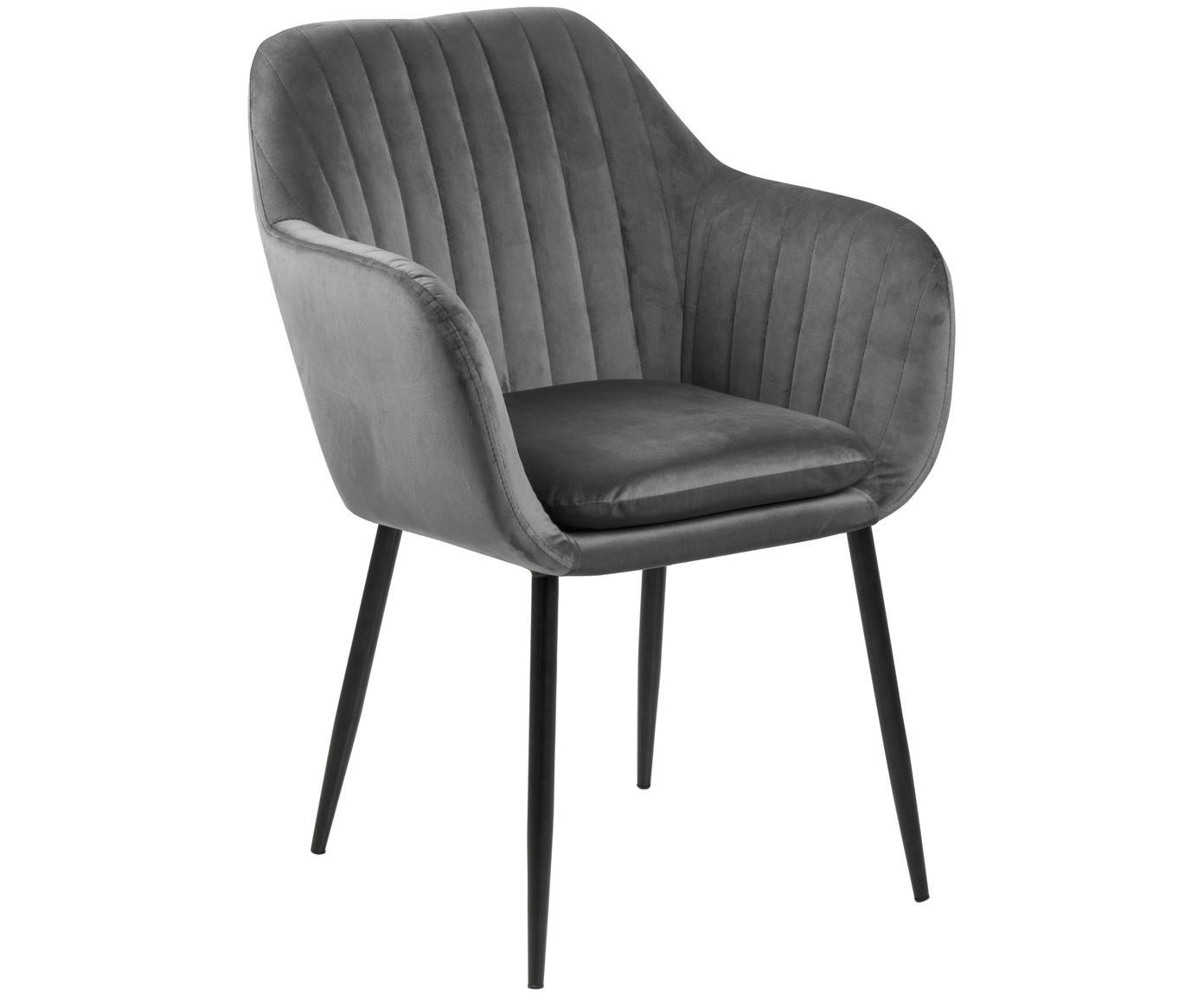 Fluwelen armstoel Emilia, Bekleding: polyester fluweel, Poten: gelakt metaal, Donkergrijs, zwart, B 57 x D 59 cm