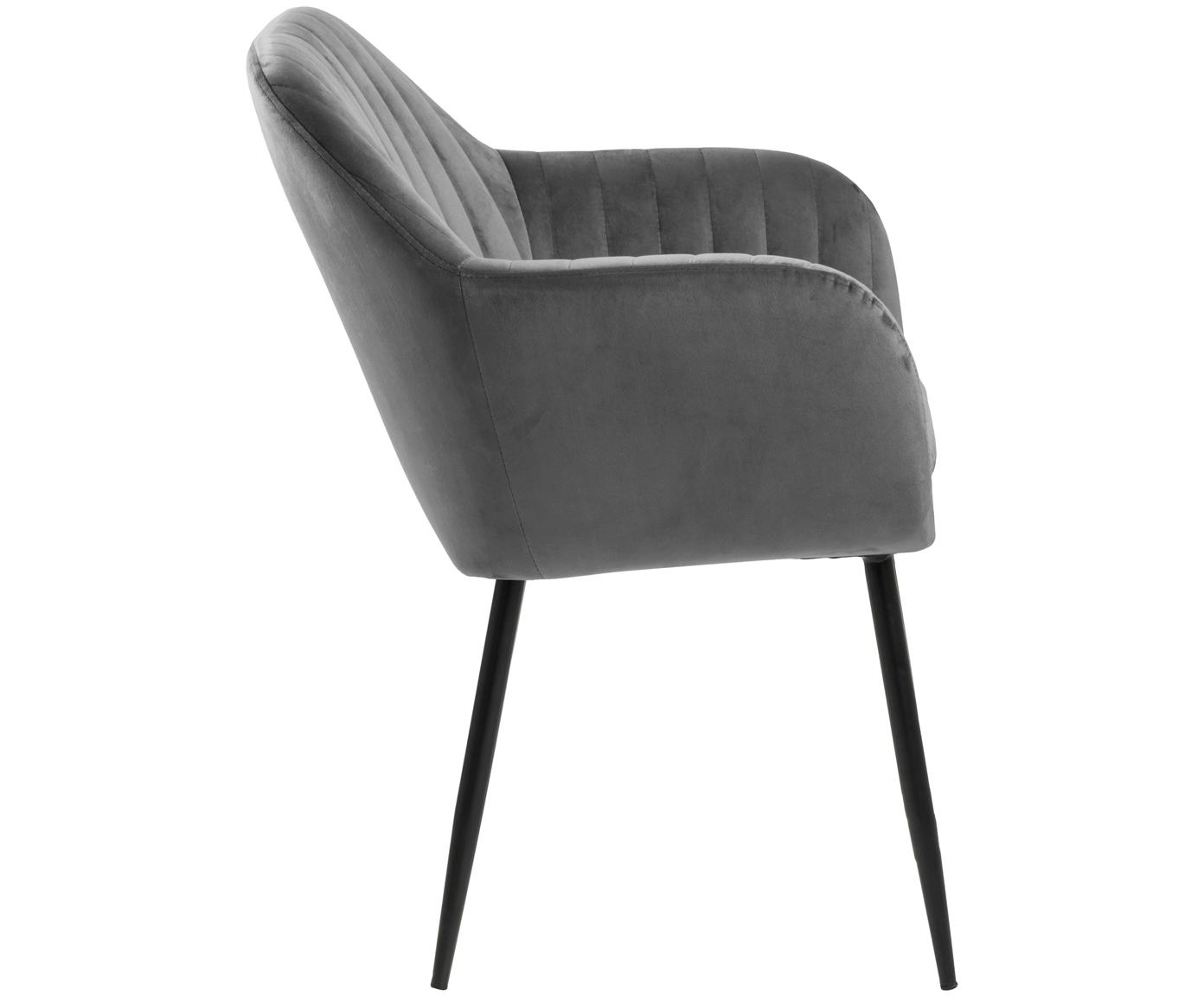 Krzesło z podłokietnikami z aksamitu Emilia, Tapicerka: aksamit poliestrowy 2500, Nogi: metal lakierowany, Ciemnyszary, czarny, S 57 x G 59 cm