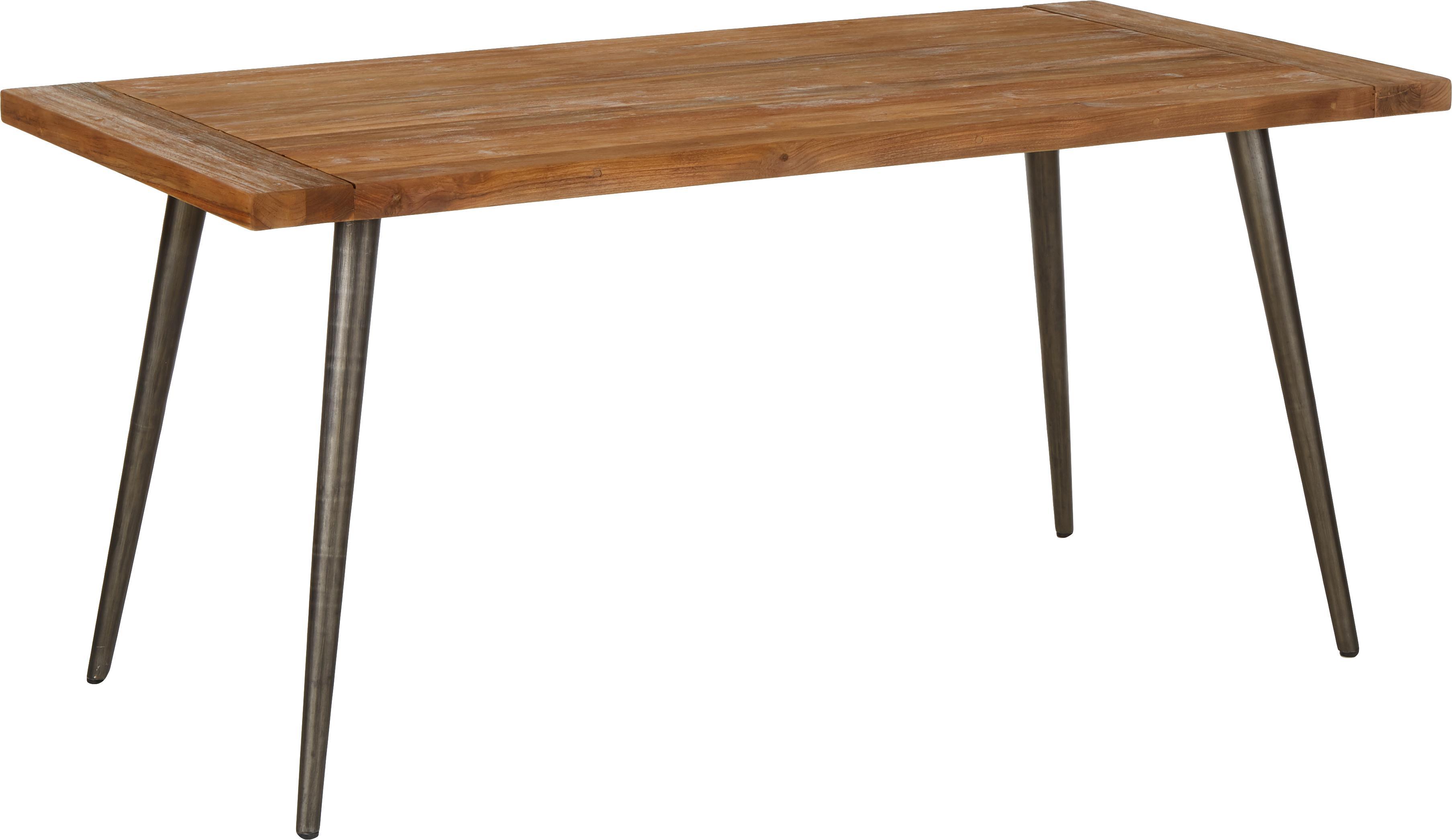 Mesa de comedor Kapal, tablero de madera maciza, Tablero: madera de teca maciza rec, Patas: acero con marcas de desga, Teca, negro, An 160 x F 80 cm