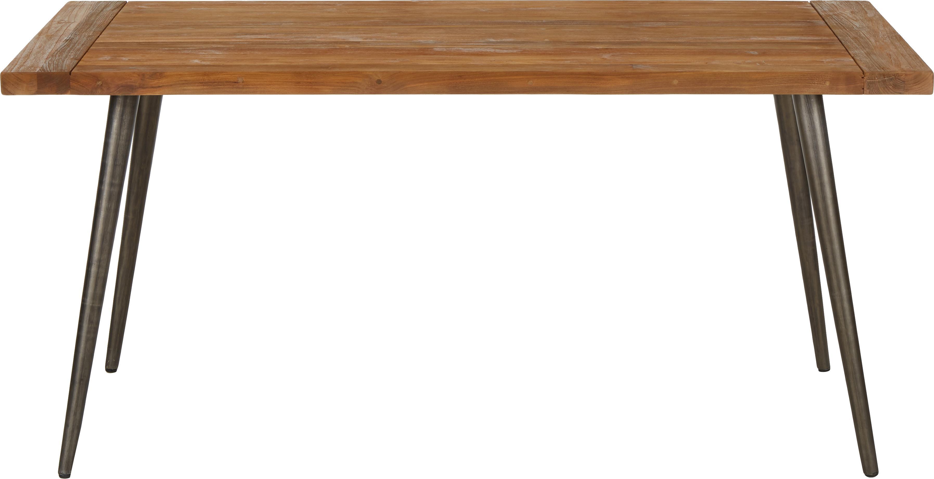 Esstisch Kapal mit Massivholzplatte, Tischplatte: 4 cm starkes, recyceltes , Beine: Stahl mit metallischen Ge, Teakholz, B 200 x T 90 cm