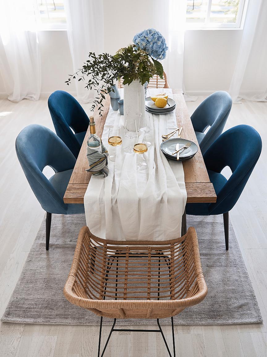 Eettafel Kapal met massief houten tafelblad, Tafelblad: 4 cm sterk, gerecycled ma, Poten: staal met metalen gebruik, Teakhoutkleurig, zwart, B 200 x D 90 cm