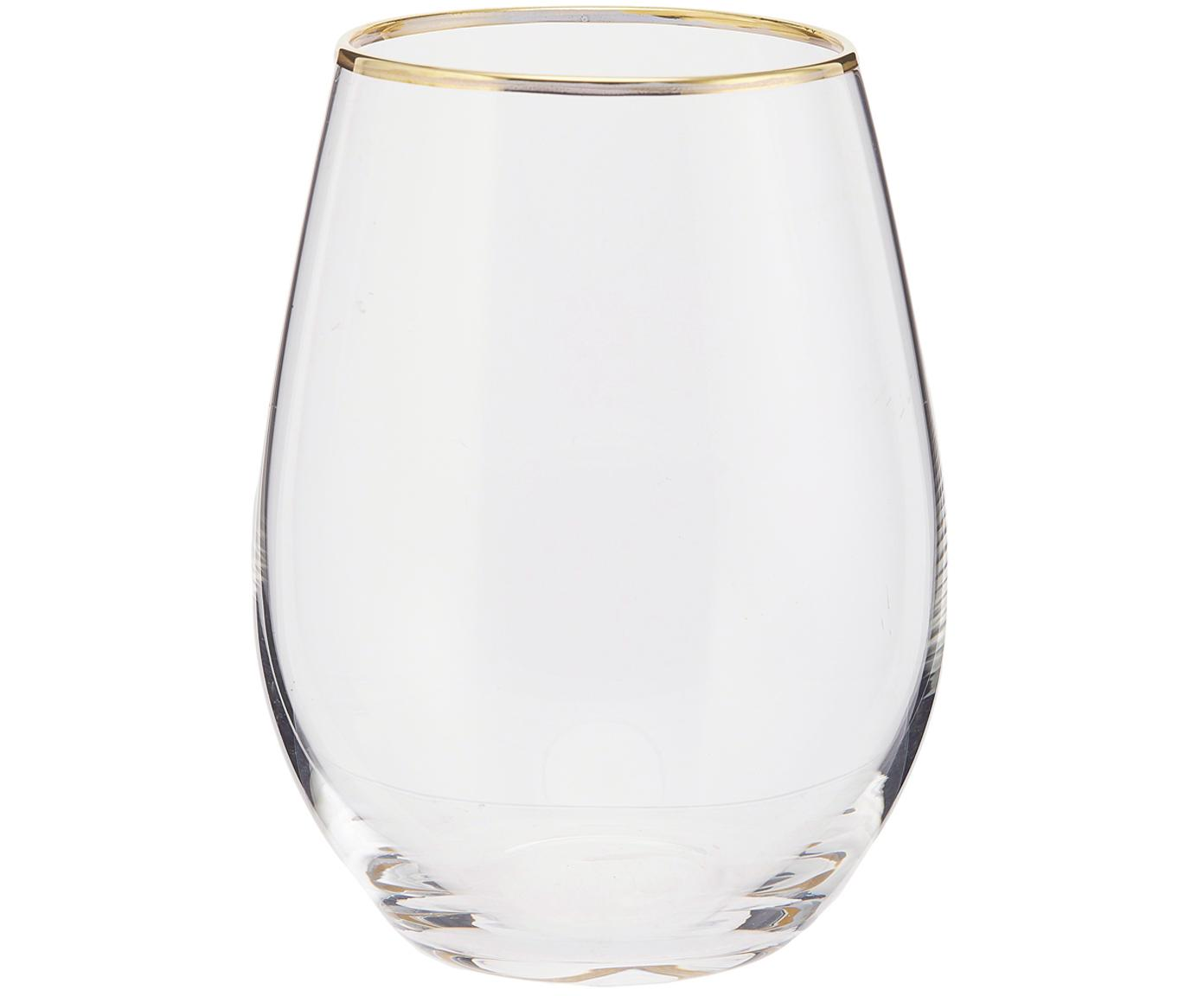 Waterglazen Chloe, 4 stuks, Glas, Transparant, goudkleurig, Ø 10 x H 15 cm