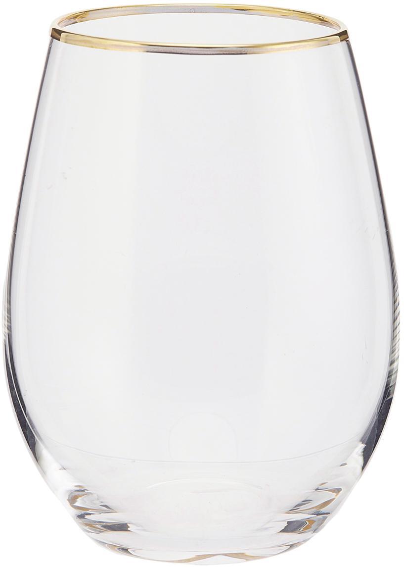 Wassergläser Chloe in Transparent mit Goldrand, 4er-Set, Glas, Transparent, Goldfarben, Ø 9 x H 12 cm