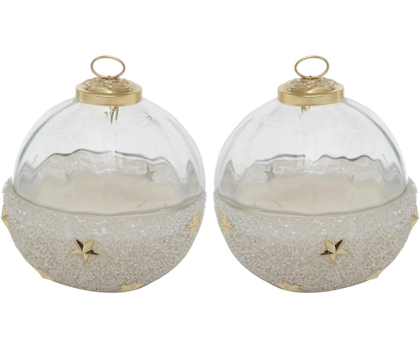 Geurkaarsenset Arlington (granaatappel & cranberry), 2-delig, Houder: gelakt glas, Transparant, goudkleurig, wit, Beide Ø 10 cm