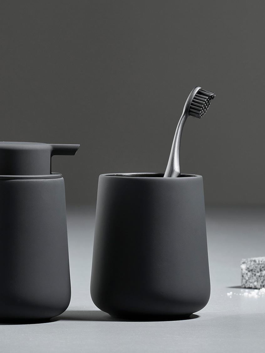 Porseleinen tandenborstelbeker Nova One, Porselein, Zwart, Ø 8 x H 10 cm