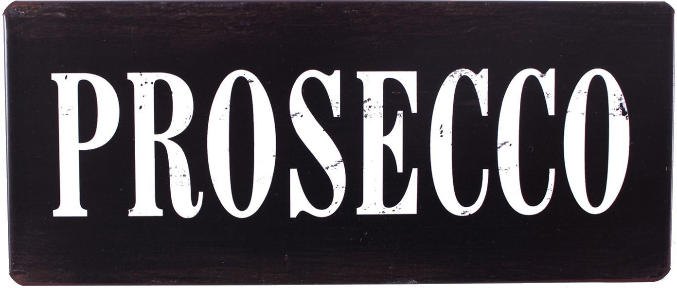 Wandschild Prosecco, Metall, mit Motivfolie beklebt, Schwarz, Weiß, 31 x 13 cm
