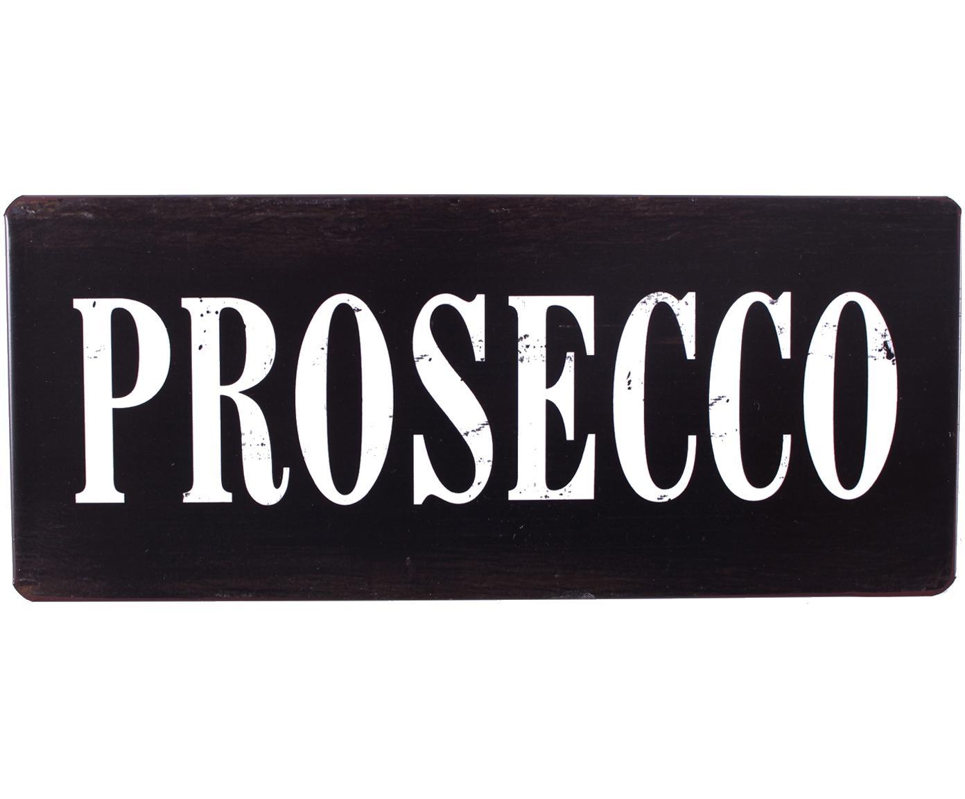 Wandbord Prosecco, Metaal, met motieffolie bekleed, Zwart, wit, 31 x 13 cm