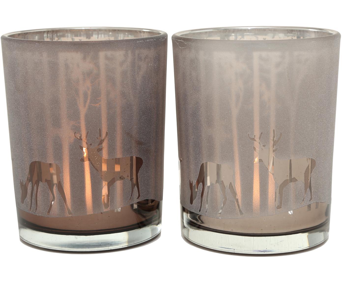 Windlichter-Set Colorado, 2-tlg., Glas, lackiert, Dunkelbeige, Taupe, Ø 10 x H 12 cm
