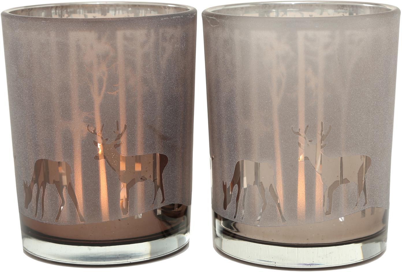 Windlichtenset Colorado, 2-delig, Gelakt glas, Donkerbeige, taupe, Ø 10 cm
