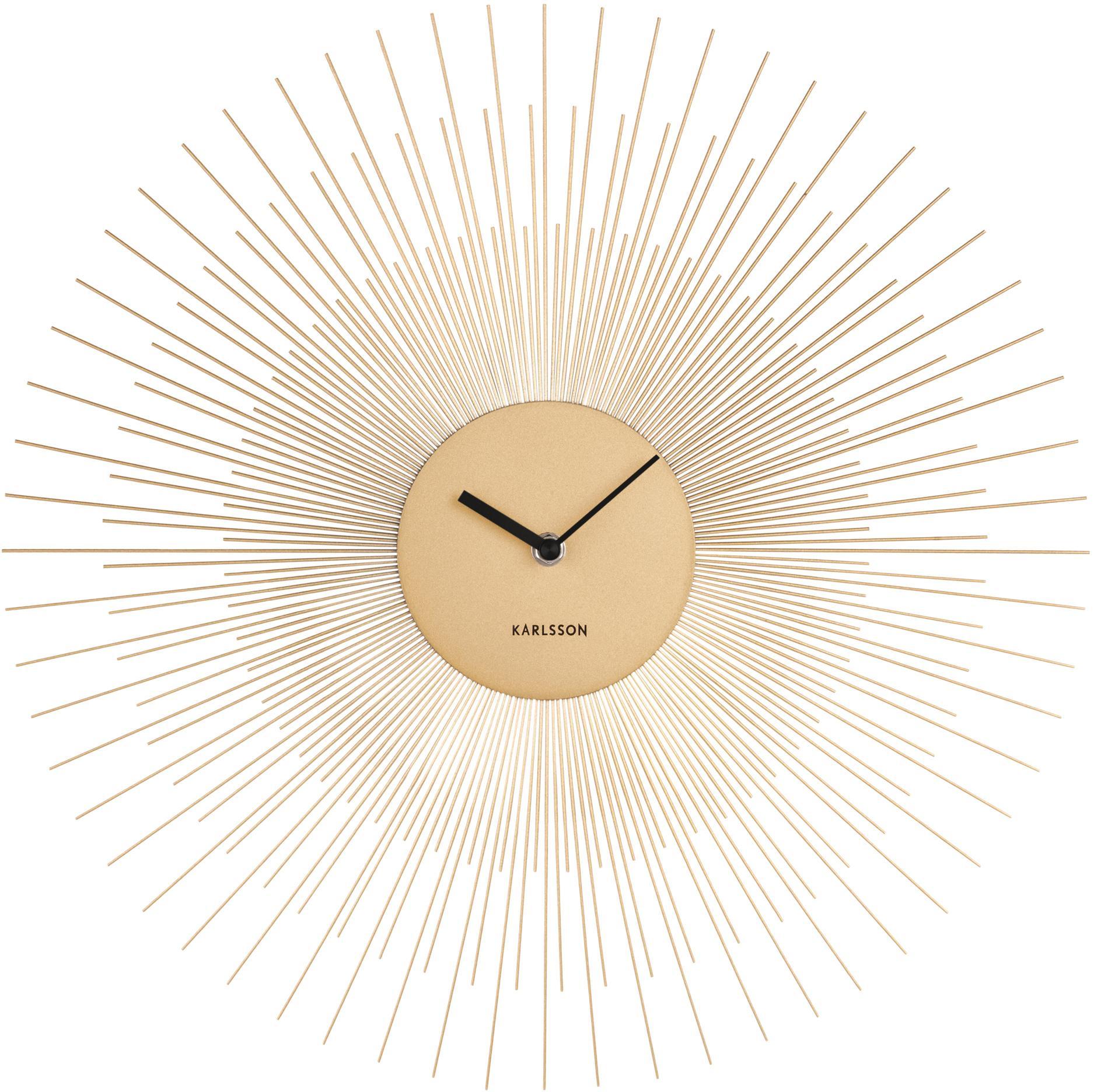 Wanduhr Peony, Metall, beschichtet, Messingfarben, Schwarz, Ø 45 cm
