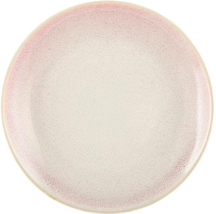 Handgemaakt ontbijtbord Amalia, 2 stuks, Keramiek, Lichtroze, crèmewit, Ø 20 cm