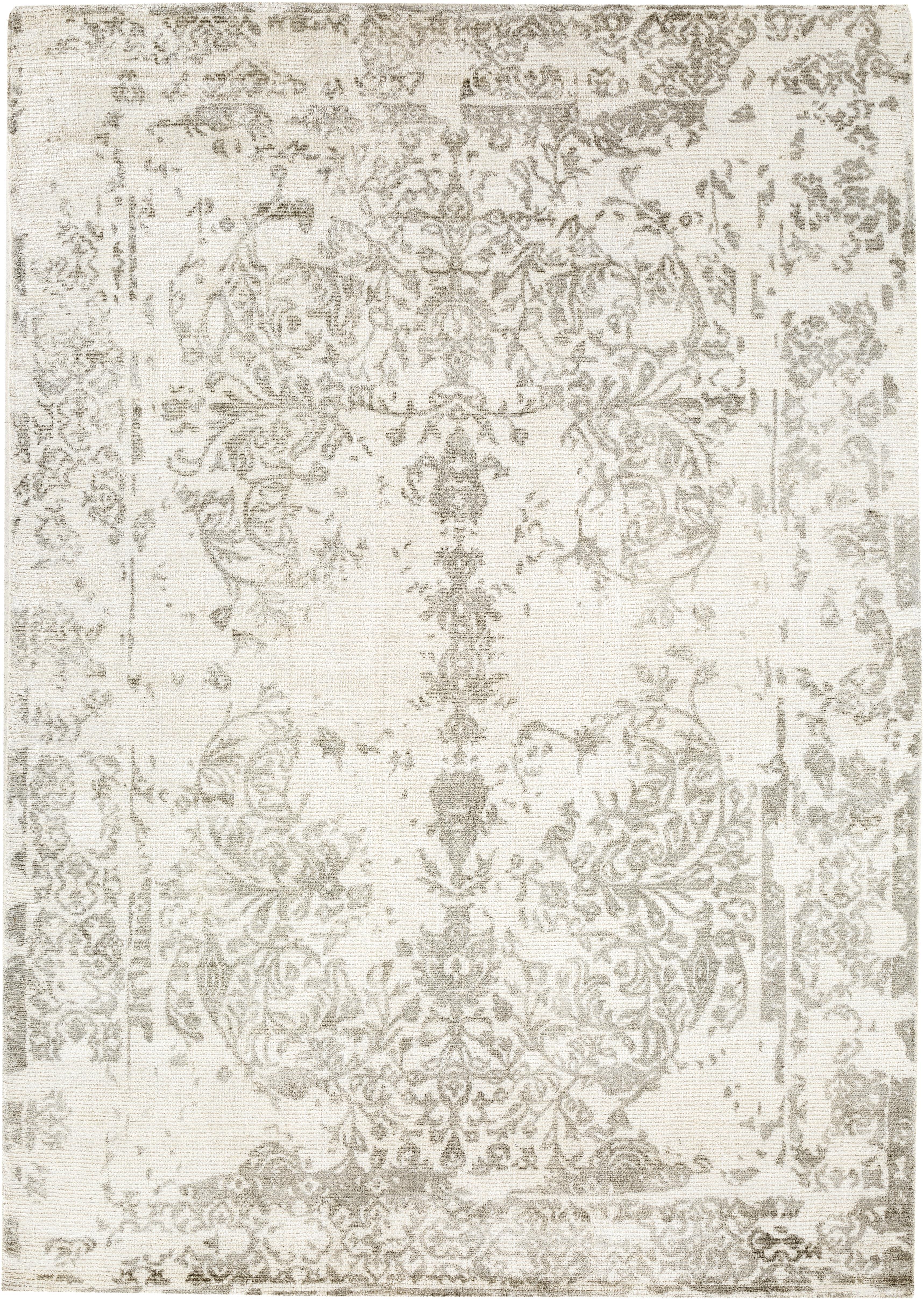 Vintage vloerkleed Florentine, wol/viscose, Beige, lichtgrijs, 140 x 200 cm