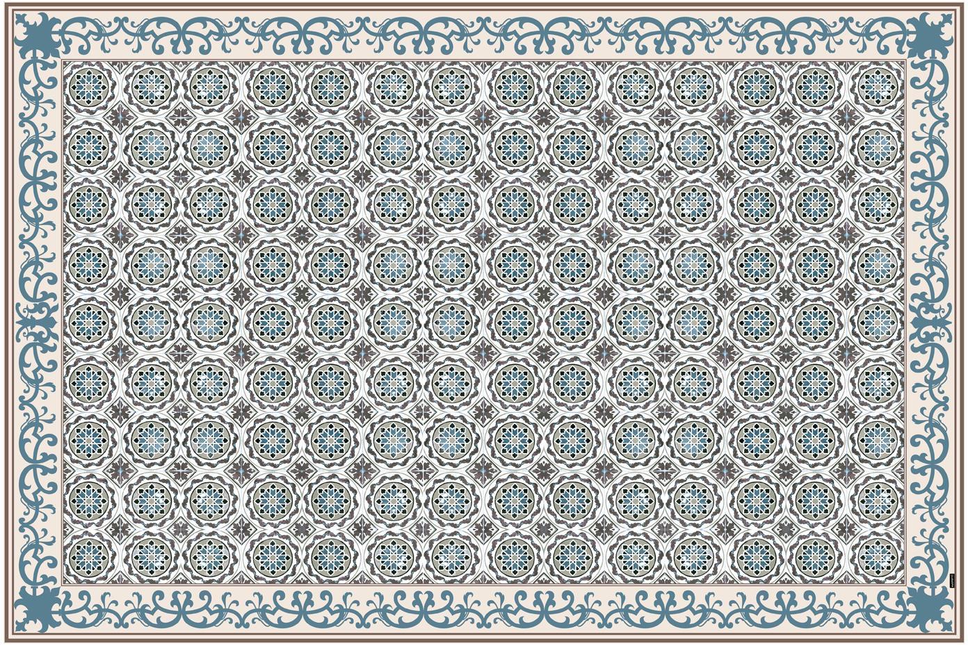 Vinyl-Bodenmatte Selina, Vinyl, recycelbar, Beige, Braun, Blau, 135 x 200 cm