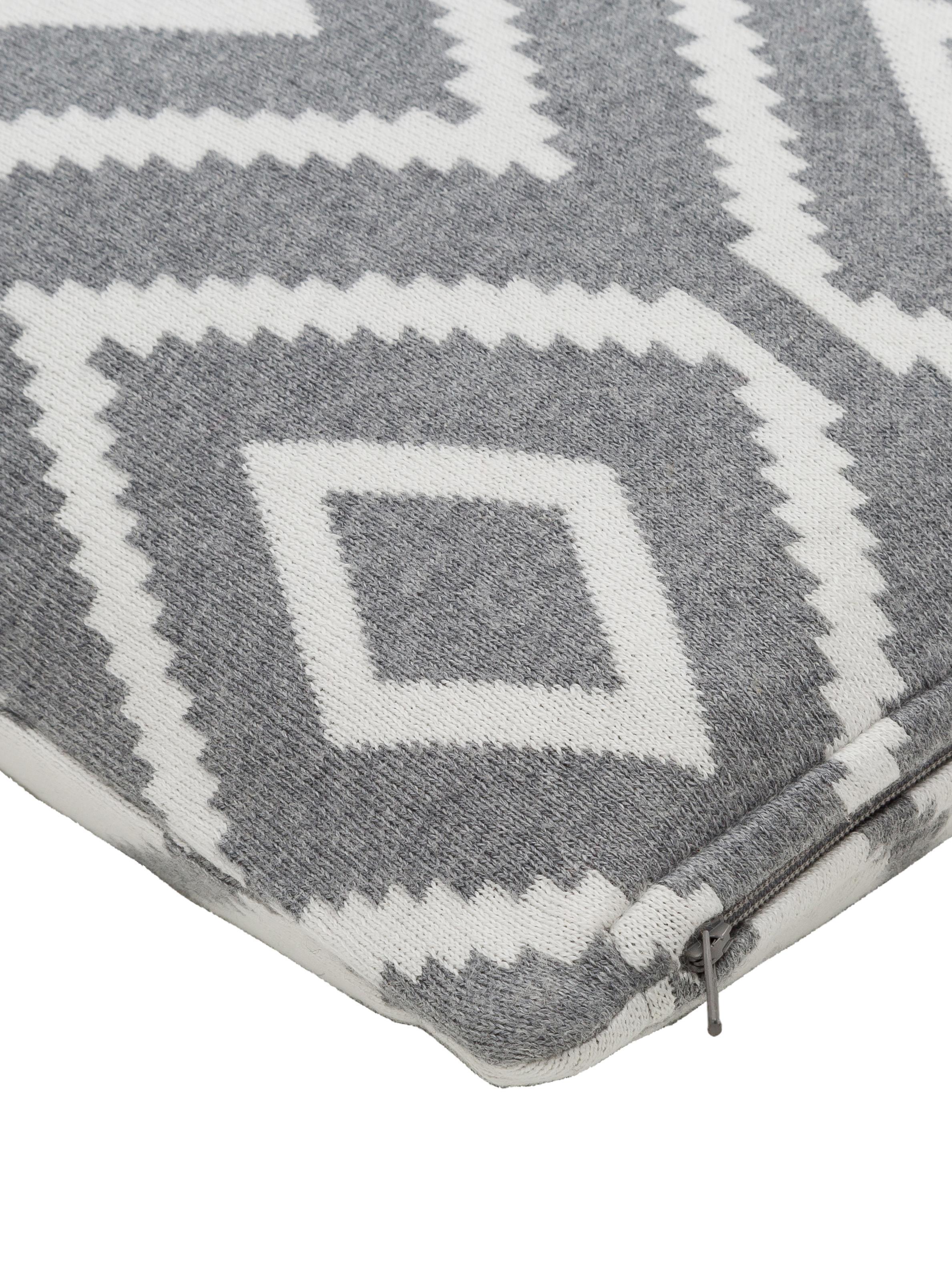 Strick-Wendekissenhülle Chuck mit grafischem Muster in Grau/Weiß, 100% Baumwolle, Grau meliert, Cremeweiß, 40 x 40 cm