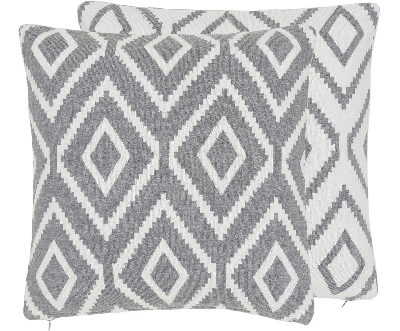Federa arredo fatta a maglia reversibile Chuck, 100% cotone, Grigio melangiato, bianco crema, Larg. 40 x Lung. 40 cm