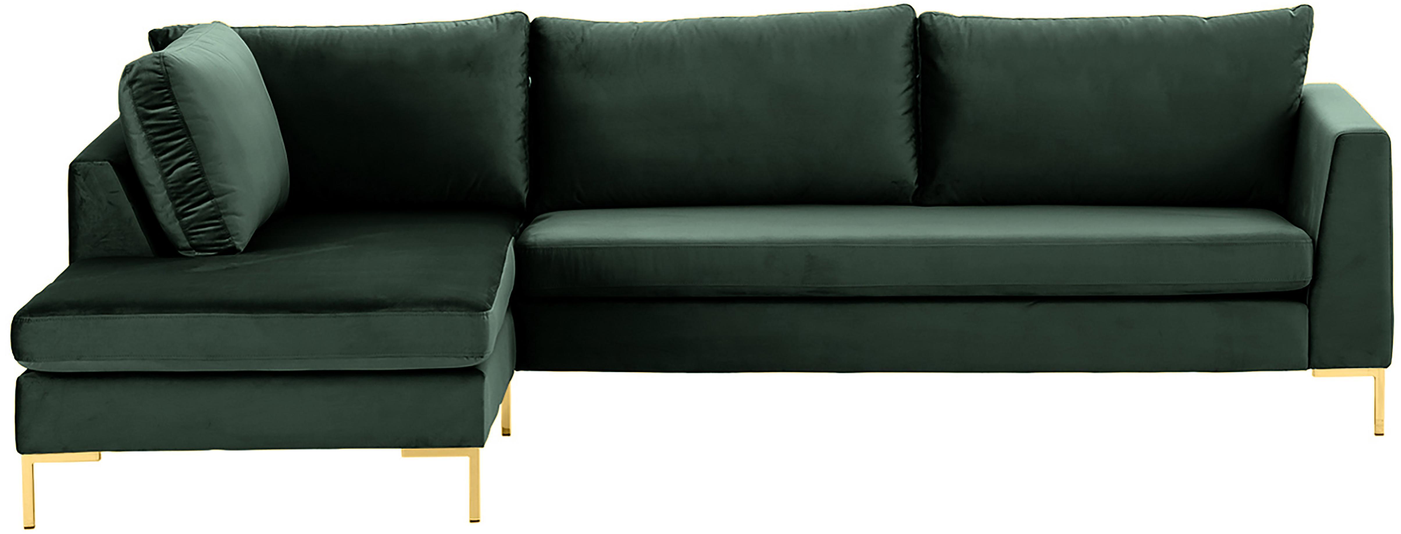 Samt-Ecksofa Luna, Bezug: Samt (Polyester) Der hoch, Gestell: Massives Buchenholz, Füße: Metall, galvanisiert, Samt Dunkelgrün, Gold, B 280 x T 184 cm