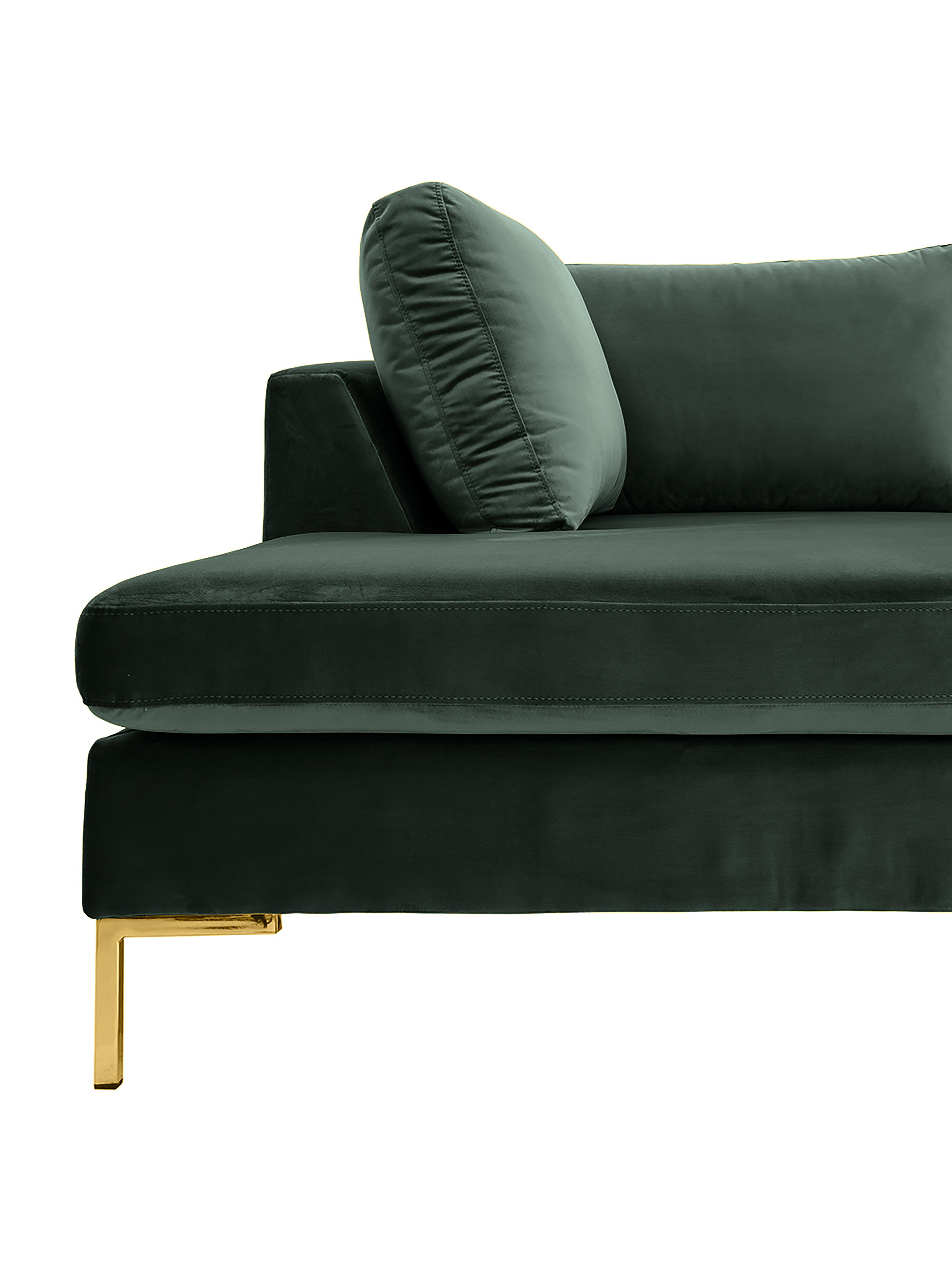 Samt-Ecksofa Luna, Bezug: Samt (Polyester) Der hoch, Gestell: Massives Buchenholz, Samt Dunkelgrün, Gold, B 280 x T 184 cm
