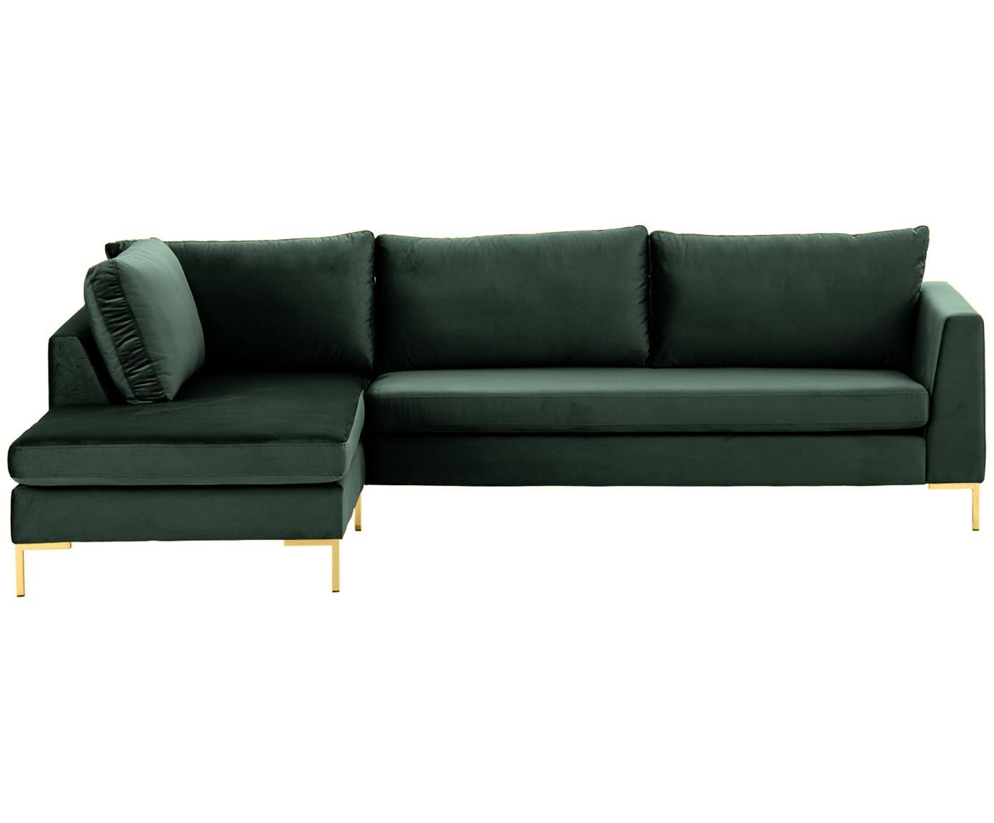 Sofa narożna z aksamitu Luna, Tapicerka: aksamit (100% poliester) , Stelaż: lite drewno bukowe, Nogi: metal galwanizowany, Aksamitny ciemny zielony, złoty, S 280 x G 184 cm