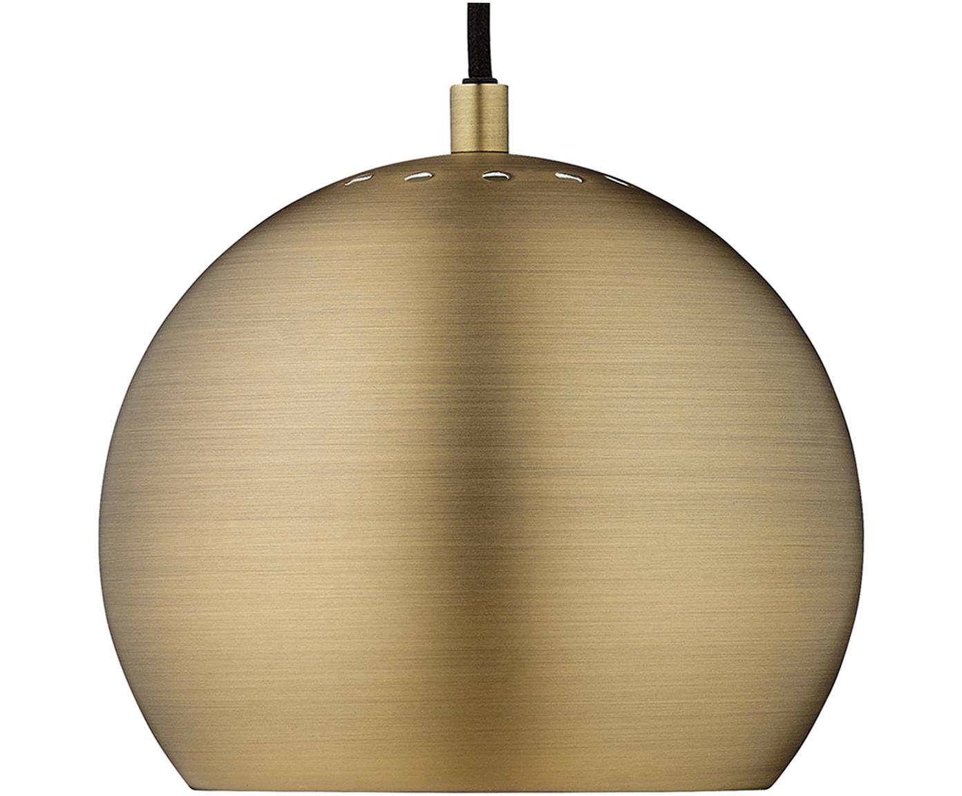 Lámpara de techo pequeña Ball, Pantalla: latón cepillado, Cable: cubierto en tela, Latón, negro, Ø 18 x Al 16 cm