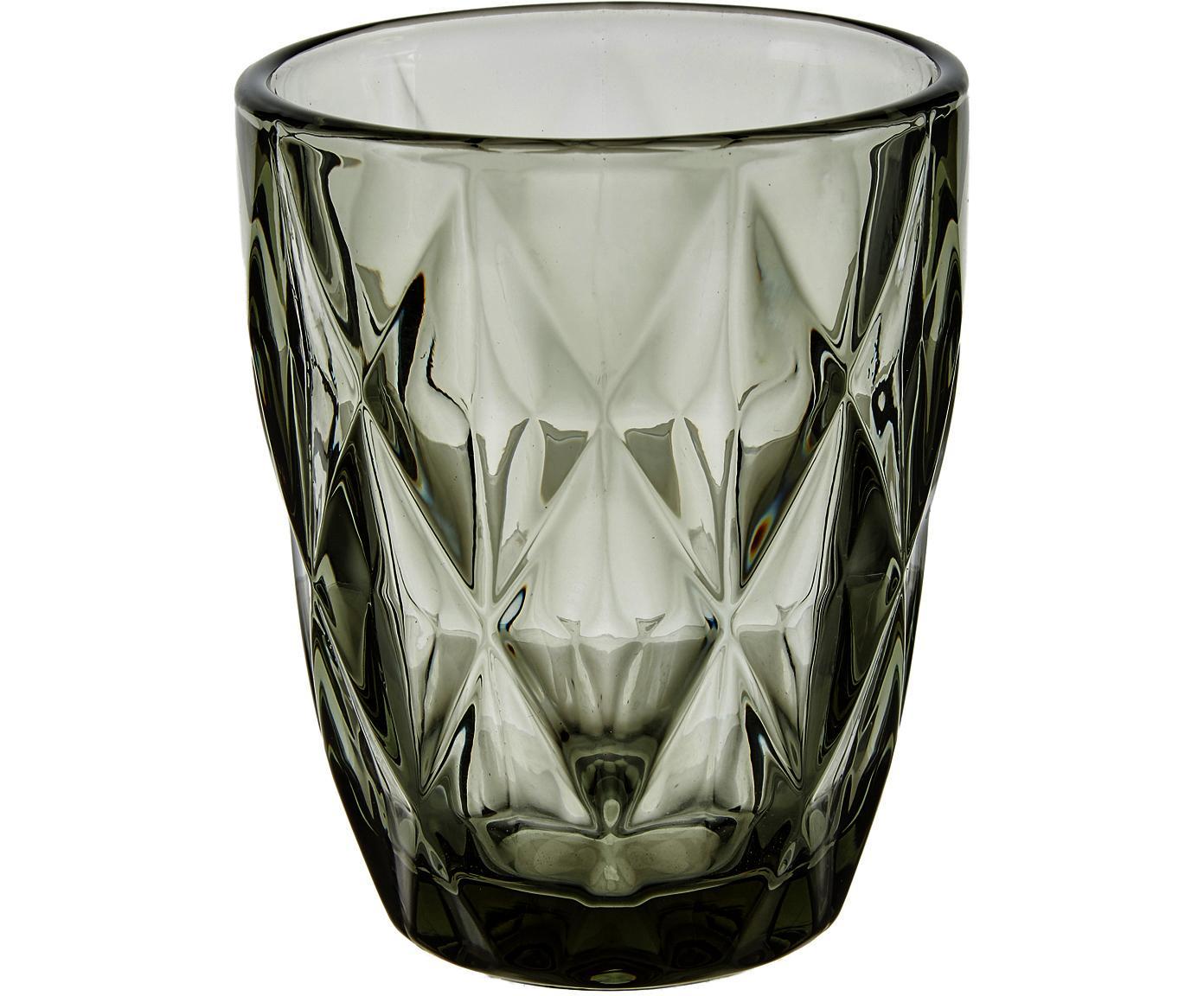 Waterglazen Colorado met structuurpatroon, 4 stuks, Glas, Grijs, transparant, Ø 8 x H 10 cm