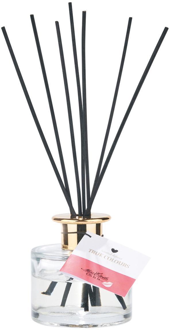 Diffusore (fragranza floreale) True Colours, Coperchio: ottone, Bottiglia: trasparente Coperchio: ottone Bastoncini: nero, Ø 8 x Alt. 10 cm